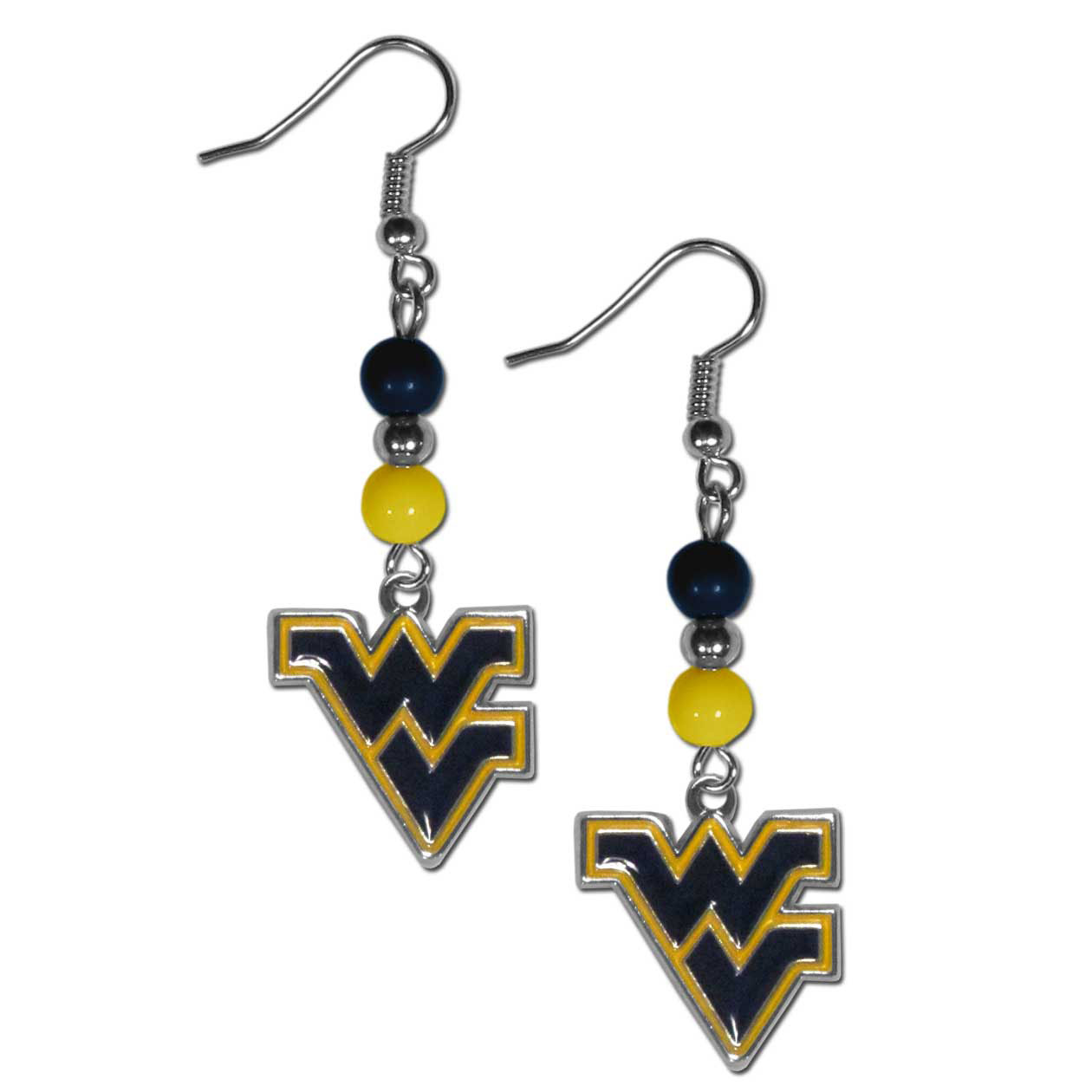 W. Virginia Mountaineers Fan Bead Dangle Earrings - Love your team, show it off with our W. Virginia Mountaineers bead dangle earrings! These super cute earrings hang approximately 2 inches and features 2 team colored beads and a high polish team charm. A must have for game day!