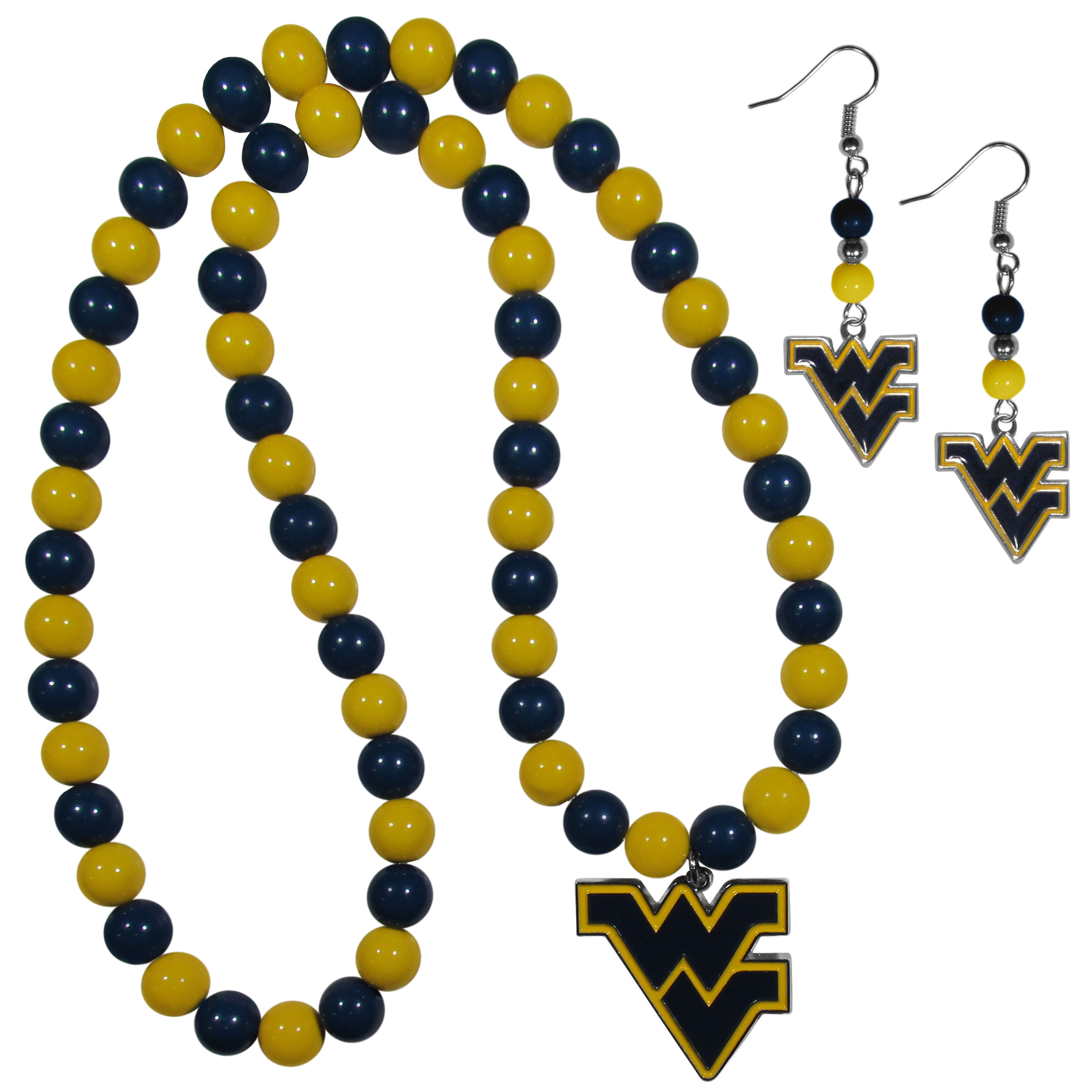 W. Virginia Mountaineers Fan Bead Earrings and Necklace Set - These fun and colorful W. Virginia Mountaineers fan bead jewelry pieces are an eyecatching way to show off your team spirit. The earrings feature hypoallergenic, nickel free fishhook post and 2 team colored beads with a beautifully carved team charm to finish this attractive dangle look. The mathcing bracelet has alternating team colored beads on a stretch cord and features a matching team charm.