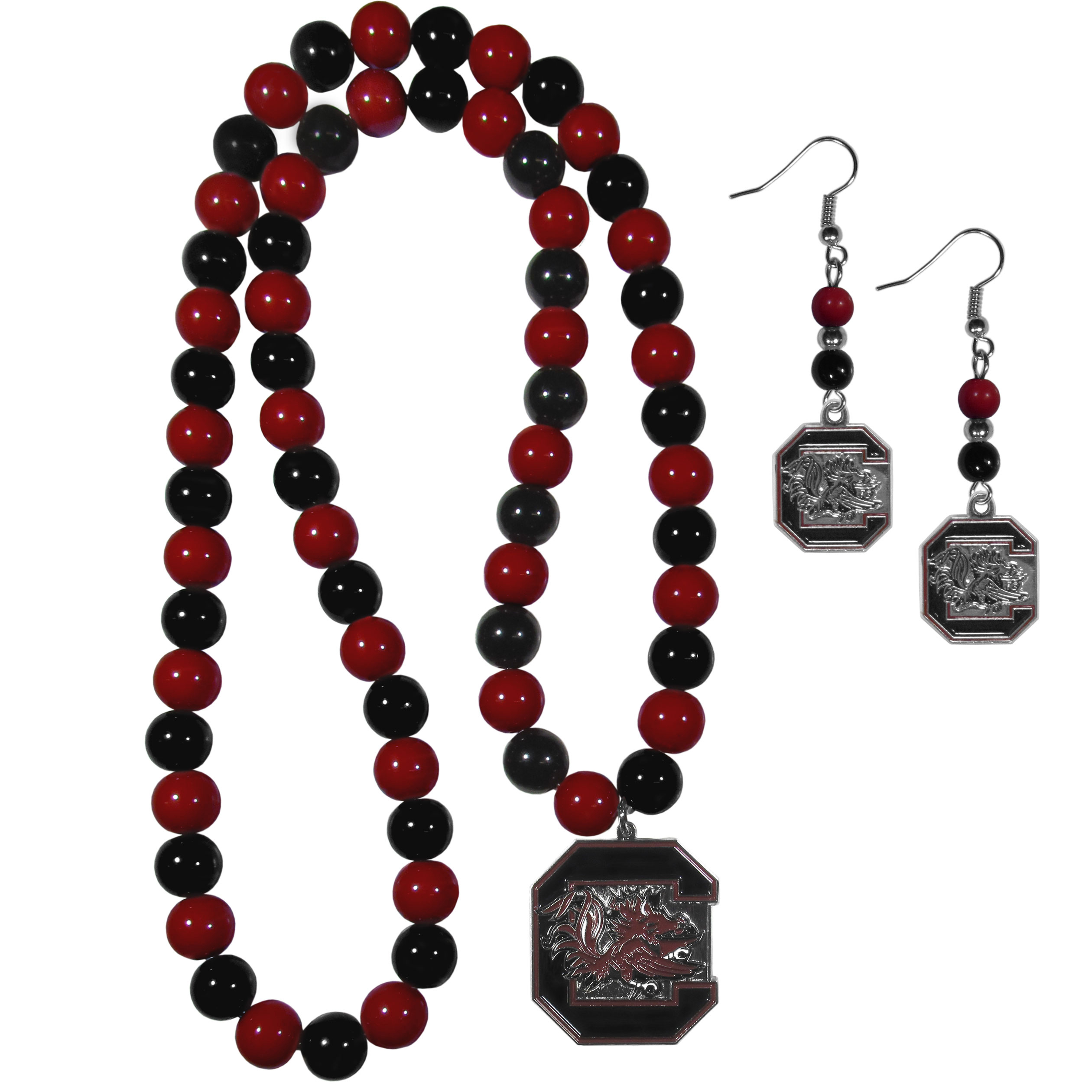 S. Carolina Gamecocks Fan Bead Earrings and Necklace Set - These fun and colorful S. Carolina Gamecocks fan bead jewelry pieces are an eyecatching way to show off your team spirit. The earrings feature hypoallergenic, nickel free fishhook post and 2 team colored beads with a beautifully carved team charm to finish this attractive dangle look. The mathcing bracelet has alternating team colored beads on a stretch cord and features a matching team charm.