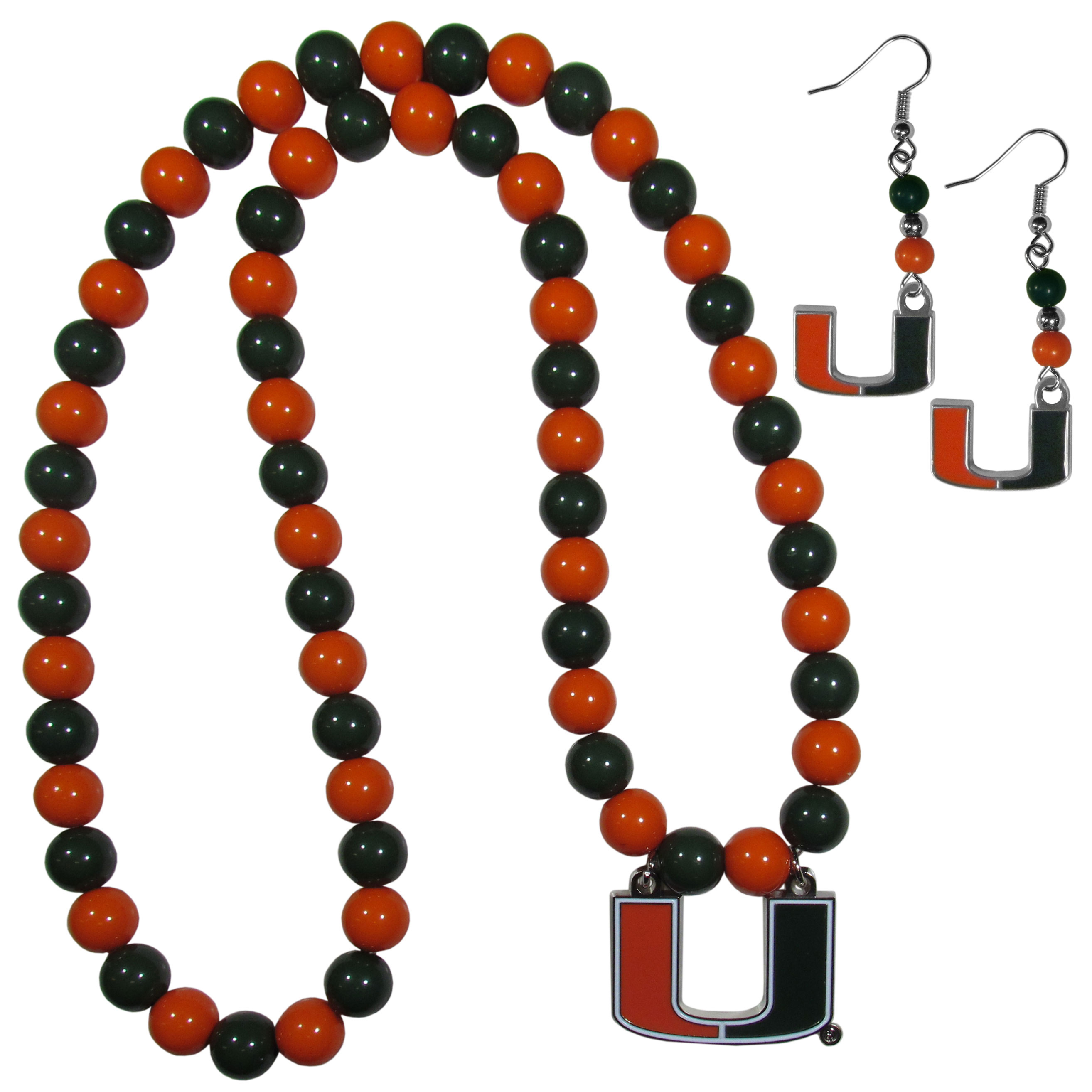 Miami Hurricanes Fan Bead Earrings and Necklace Set - These fun and colorful Miami Hurricanes fan bead jewelry pieces are an eyecatching way to show off your team spirit. The earrings feature hypoallergenic, nickel free fishhook post and 2 team colored beads with a beautifully carved team charm to finish this attractive dangle look. The mathcing bracelet has alternating team colored beads on a stretch cord and features a matching team charm.