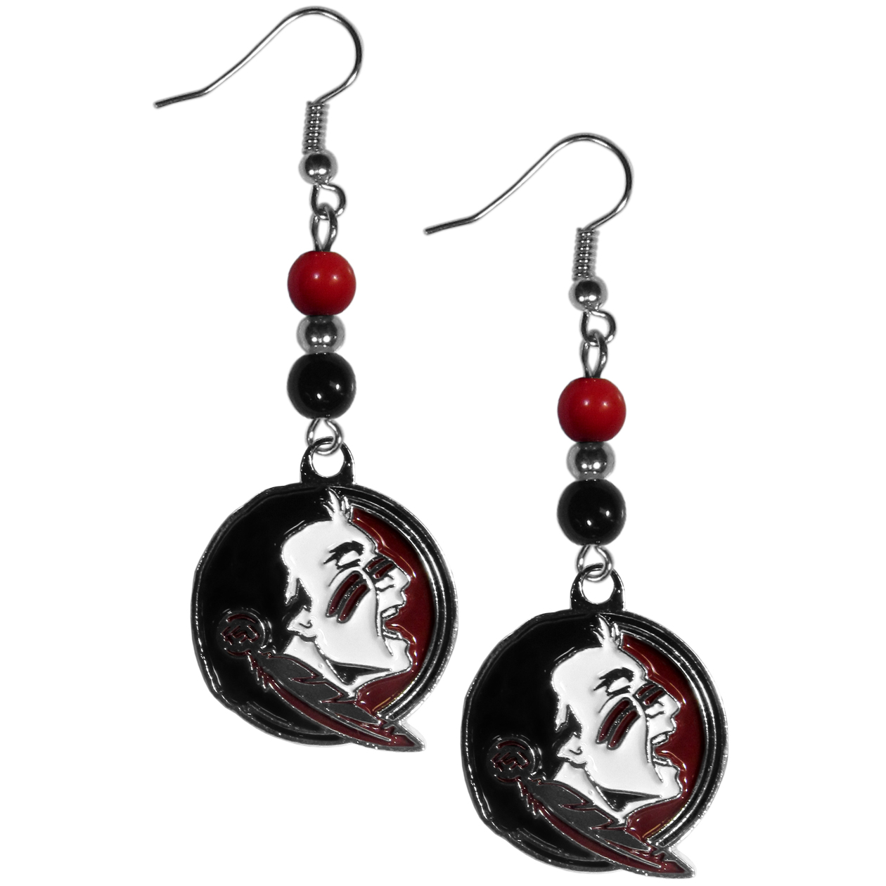 Florida St. Seminoles Fan Bead Dangle Earrings - Love your team, show it off with our Florida St. Seminoles bead dangle earrings! These super cute earrings hang approximately 2 inches and features 2 team colored beads and a high polish team charm. A must have for game day!
