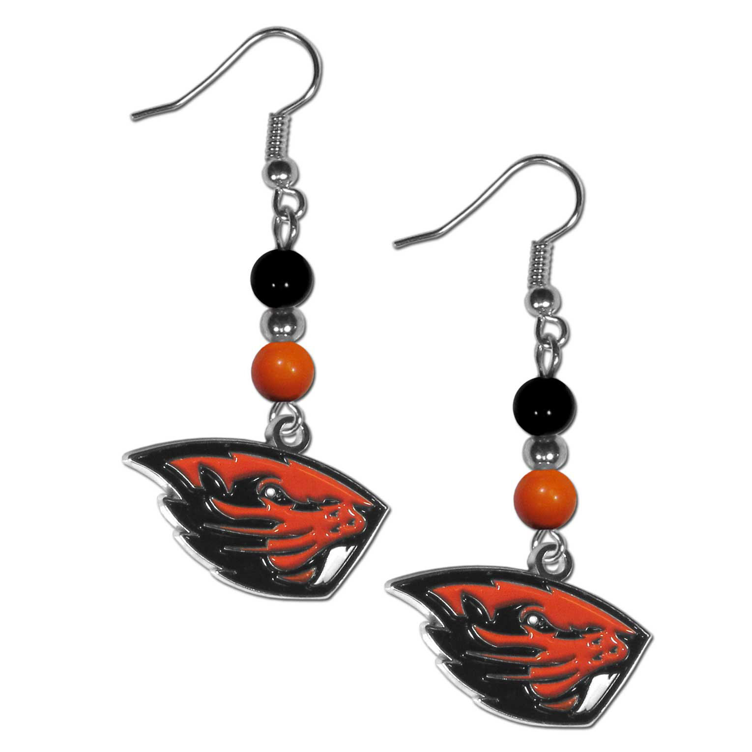 Oregon St. Beavers Fan Bead Dangle Earrings - Love your team, show it off with our Oregon St. Beavers bead dangle earrings! These super cute earrings hang approximately 2 inches and features 2 team colored beads and a high polish team charm. A must have for game day!