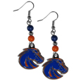 Boise St. Broncos Fan Bead Dangle Earrings - Love your team, show it off with our Boise St. Broncos bead dangle earrings! These super cute earrings hang approximately 2 inches and features 2 team colored beads and a high polish team charm. A must have for game day!  Thank you for shopping with CrazedOutSports.com