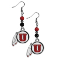 Utah Utes Fan Bead Dangle Earrings