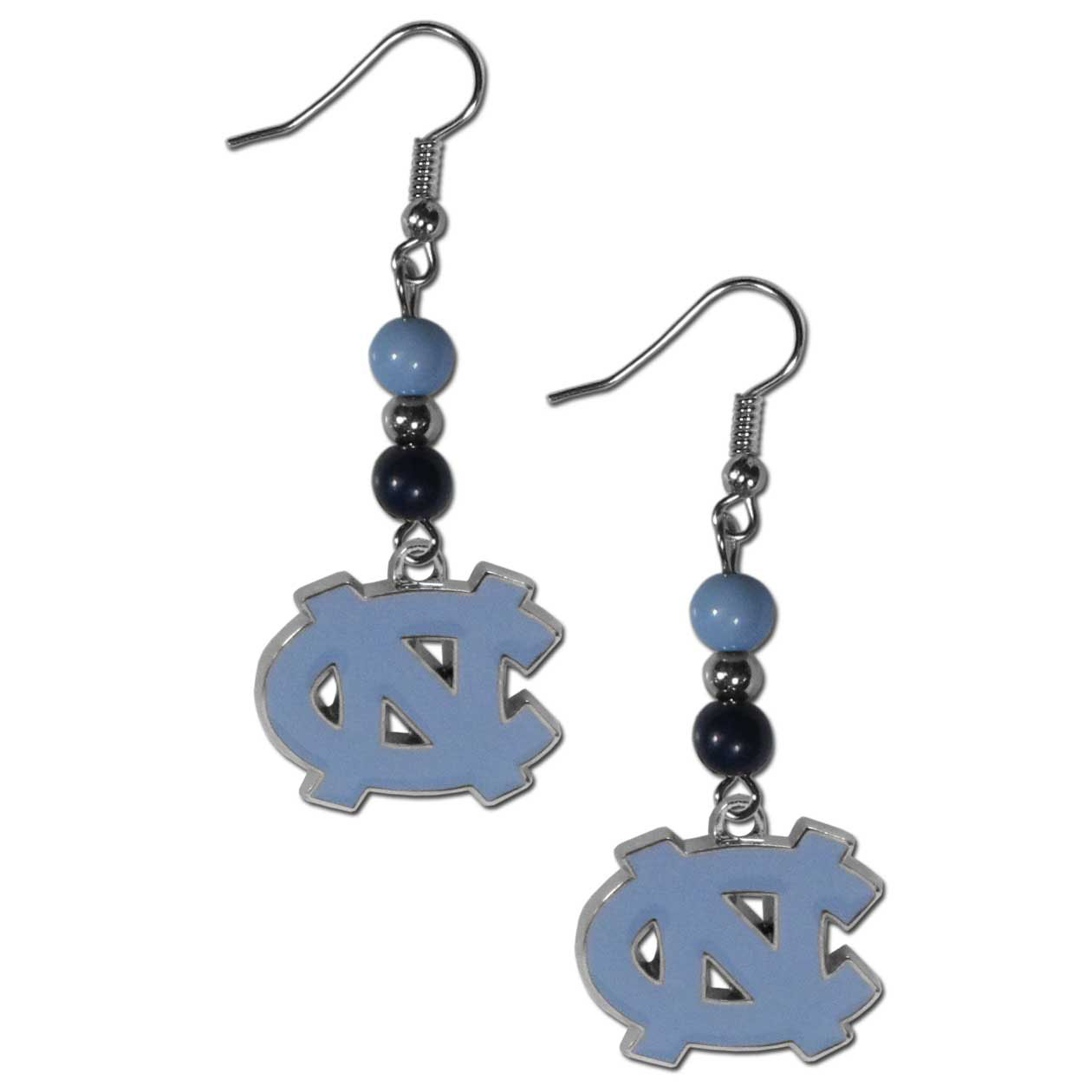 N. Carolina Tar Heels Fan Bead Dangle Earrings - Love your team, show it off with our N. Carolina Tar Heels bead dangle earrings! These super cute earrings hang approximately 2 inches and features 2 team colored beads and a high polish team charm. A must have for game day!
