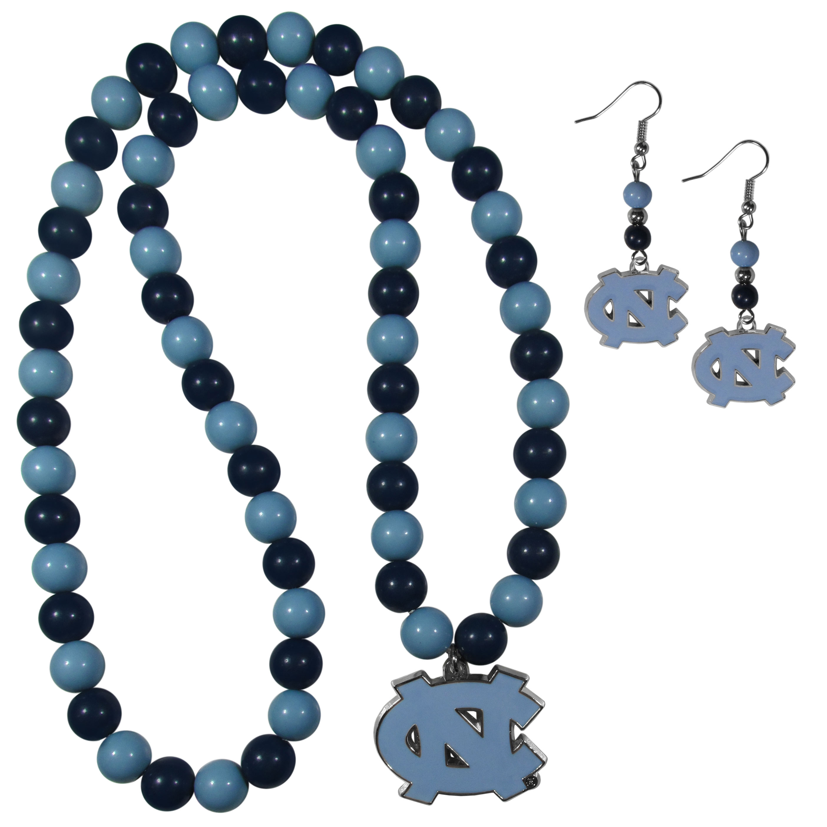 N. Carolina Tar Heels Fan Bead Earrings and Necklace Set - These fun and colorful N. Carolina Tar Heels fan bead jewelry pieces are an eyecatching way to show off your team spirit. The earrings feature hypoallergenic, nickel free fishhook post and 2 team colored beads with a beautifully carved team charm to finish this attractive dangle look. The mathcing bracelet has alternating team colored beads on a stretch cord and features a matching team charm.
