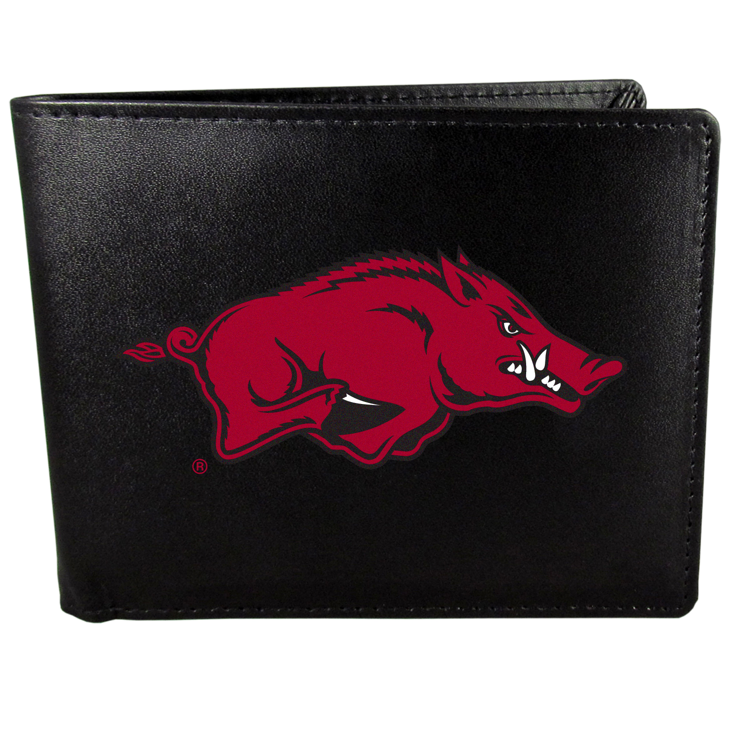 Arkansas Razorbacks Bi-fold Wallet Large Logo - Sports fans do not have to sacrifice style with this classic bi-fold wallet that sports the Arkansas Razorbacks?extra large logo. This men's fashion accessory has a leather grain look and expert craftmanship for a quality wallet at a great price. The wallet features inner credit card slots, windowed ID slot and a large billfold pocket. The front of the wallet features a printed team logo.