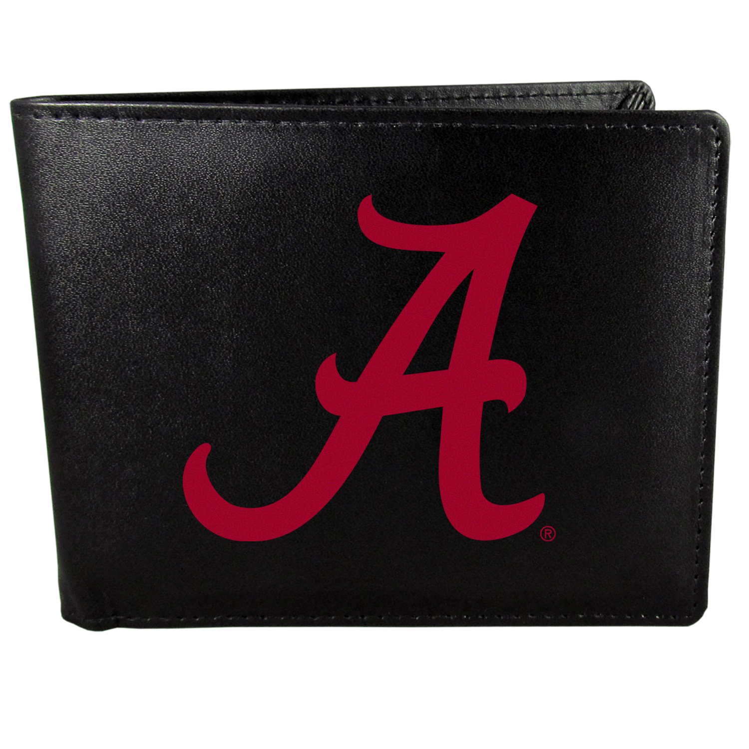Alabama Crimson Tide Bi-fold Wallet Large Logo - Sports fans do not have to sacrifice style with this classic bi-fold wallet that sports the Alabama Crimson Tide?extra large logo. This men's fashion accessory has a leather grain look and expert craftmanship for a quality wallet at a great price. The wallet features inner credit card slots, windowed ID slot and a large billfold pocket. The front of the wallet features a printed team logo.