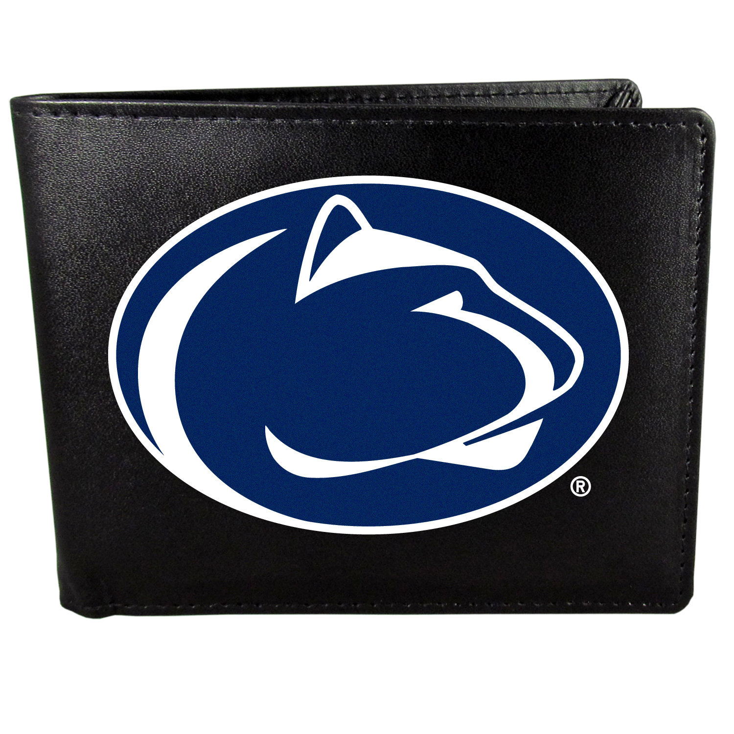 Penn St. Nittany Lions Bi-fold Wallet Large Logo - Sports fans do not have to sacrifice style with this classic bi-fold wallet that sports the Penn St. Nittany Lions extra large logo. This men's fashion accessory has a leather grain look and expert craftmanship for a quality wallet at a great price. The wallet features inner credit card slots, windowed ID slot and a large billfold pocket. The front of the wallet features a printed team logo.