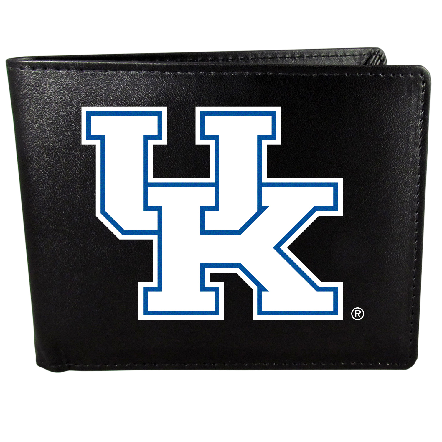Kentucky Wildcats Bi-fold Wallet Large Logo - Sports fans do not have to sacrifice style with this classic bi-fold wallet that sports the Kentucky Wildcats extra large logo. This men's fashion accessory has a leather grain look and expert craftmanship for a quality wallet at a great price. The wallet features inner credit card slots, windowed ID slot and a large billfold pocket. The front of the wallet features a printed team logo.