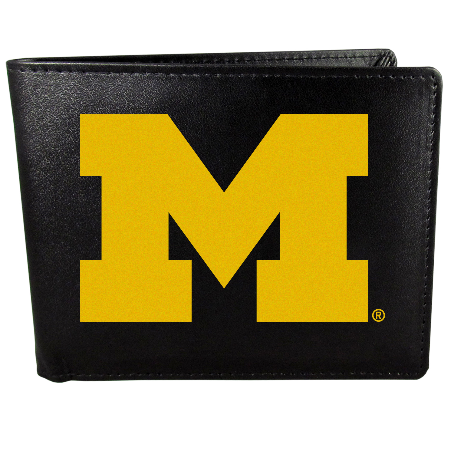 Michigan Wolverines Bi-fold Wallet Large Logo - Sports fans do not have to sacrifice style with this classic bi-fold wallet that sports the Michigan Wolverines extra large logo. This men's fashion accessory has a leather grain look and expert craftmanship for a quality wallet at a great price. The wallet features inner credit card slots, windowed ID slot and a large billfold pocket. The front of the wallet features a printed team logo.