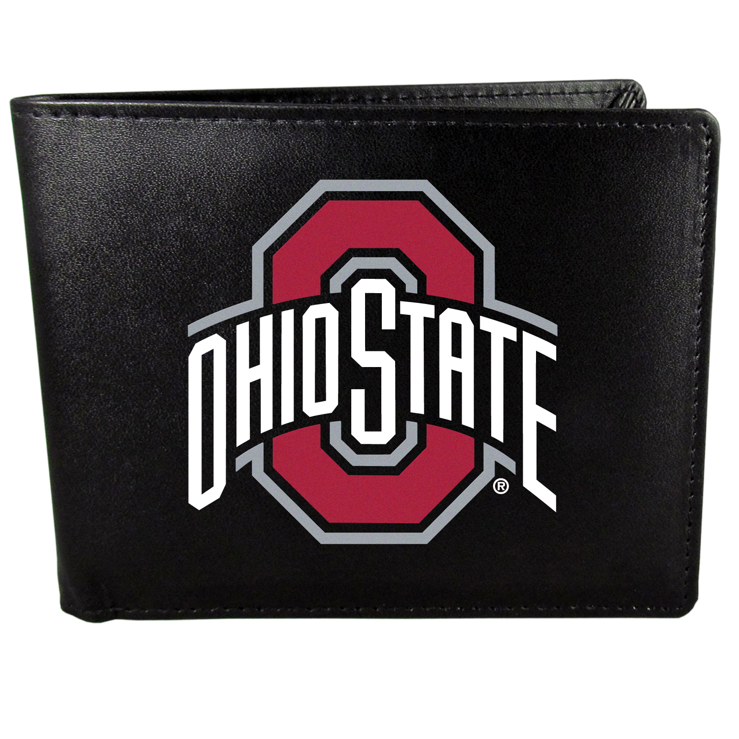 Ohio St. Buckeyes Bi-fold Wallet Large Logo - Sports fans do not have to sacrifice style with this classic bi-fold wallet that sports the Ohio St. Buckeyes extra large logo. This men's fashion accessory has a leather grain look and expert craftmanship for a quality wallet at a great price. The wallet features inner credit card slots, windowed ID slot and a large billfold pocket. The front of the wallet features a printed team logo.