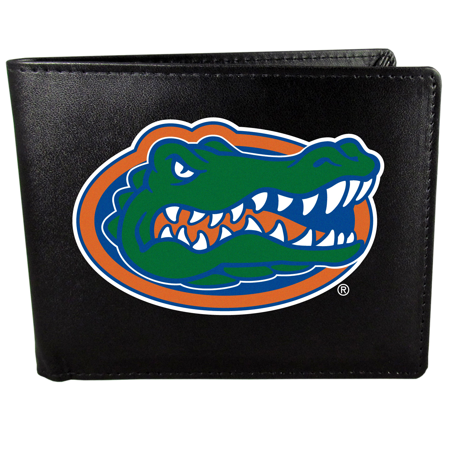 Florida Gators Bi-fold Wallet Large Logo - Sports fans do not have to sacrifice style with this classic bi-fold wallet that sports the Florida Gators?extra large logo. This men's fashion accessory has a leather grain look and expert craftmanship for a quality wallet at a great price. The wallet features inner credit card slots, windowed ID slot and a large billfold pocket. The front of the wallet features a printed team logo.