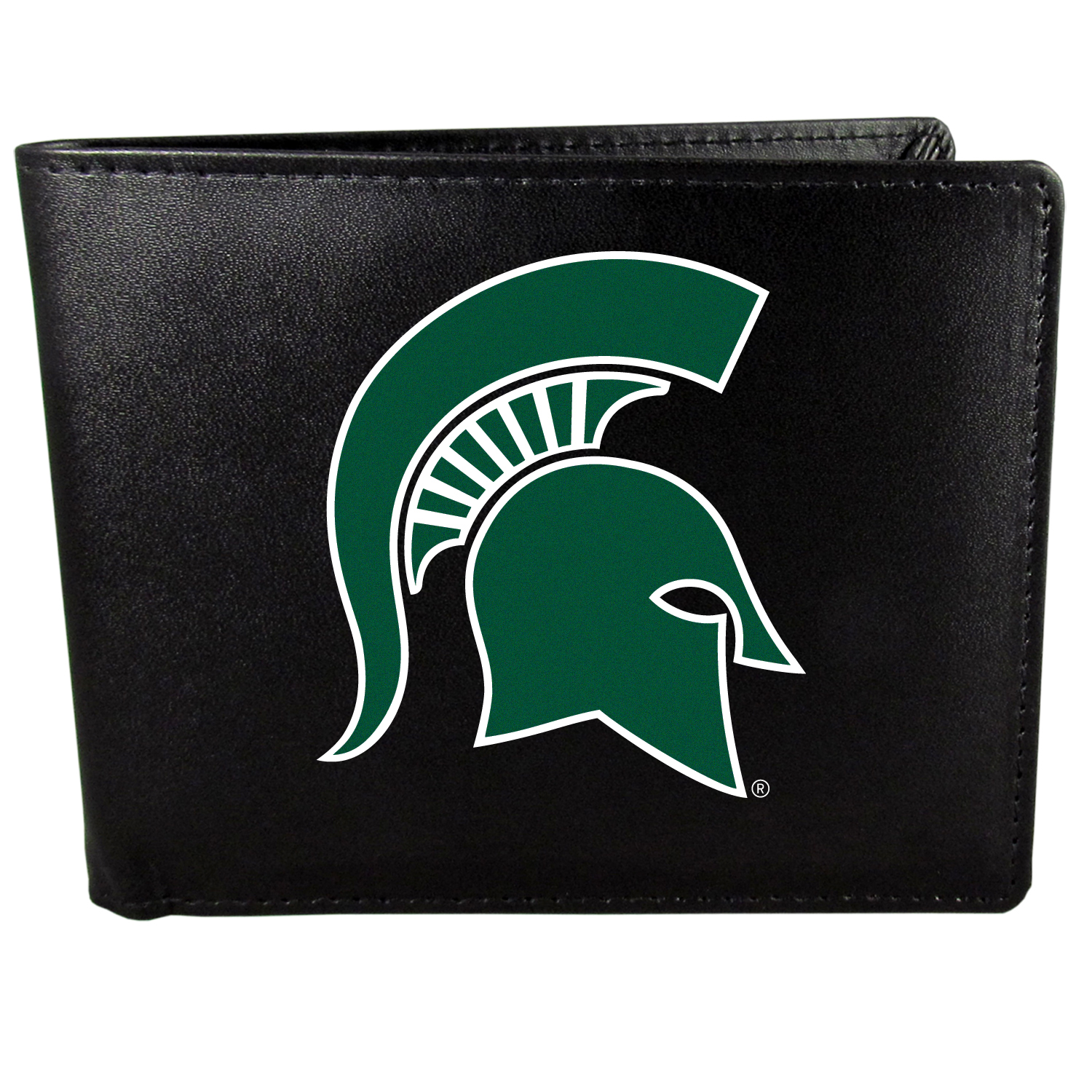 Michigan St. Spartans Bi-fold Wallet Large Logo - Sports fans do not have to sacrifice style with this classic bi-fold wallet that sports the Michigan St. Spartans extra large logo. This men's fashion accessory has a leather grain look and expert craftmanship for a quality wallet at a great price. The wallet features inner credit card slots, windowed ID slot and a large billfold pocket. The front of the wallet features a printed team logo.