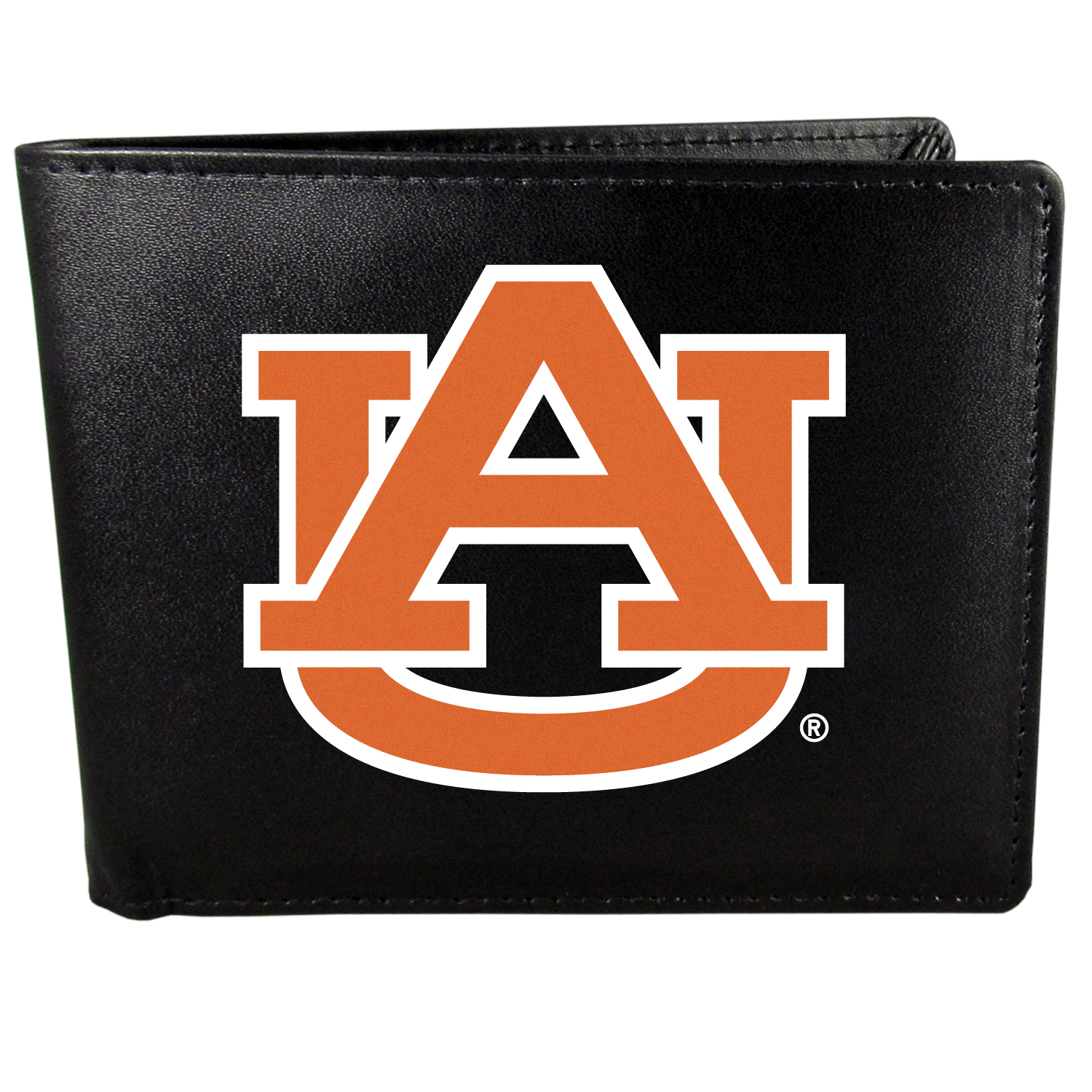 Auburn Tigers Bi-fold Wallet Large Logo - Sports fans do not have to sacrifice style with this classic bi-fold wallet that sports the Auburn Tigers?extra large logo. This men's fashion accessory has a leather grain look and expert craftmanship for a quality wallet at a great price. The wallet features inner credit card slots, windowed ID slot and a large billfold pocket. The front of the wallet features a printed team logo.