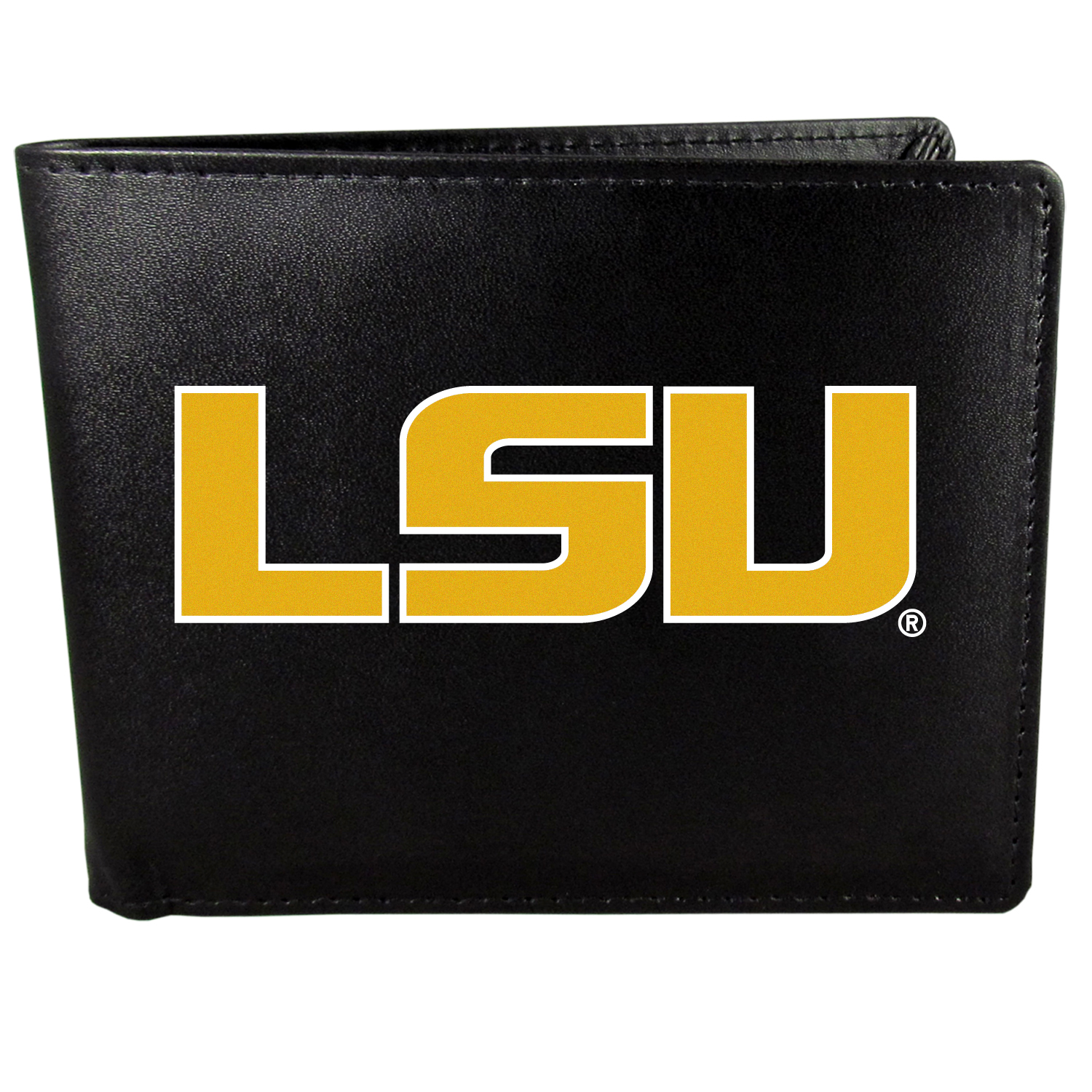 LSU Tigers Bi-fold Wallet Large Logo - Sports fans do not have to sacrifice style with this classic bi-fold wallet that sports the LSU Tigers extra large logo. This men's fashion accessory has a leather grain look and expert craftmanship for a quality wallet at a great price. The wallet features inner credit card slots, windowed ID slot and a large billfold pocket. The front of the wallet features a printed team logo.
