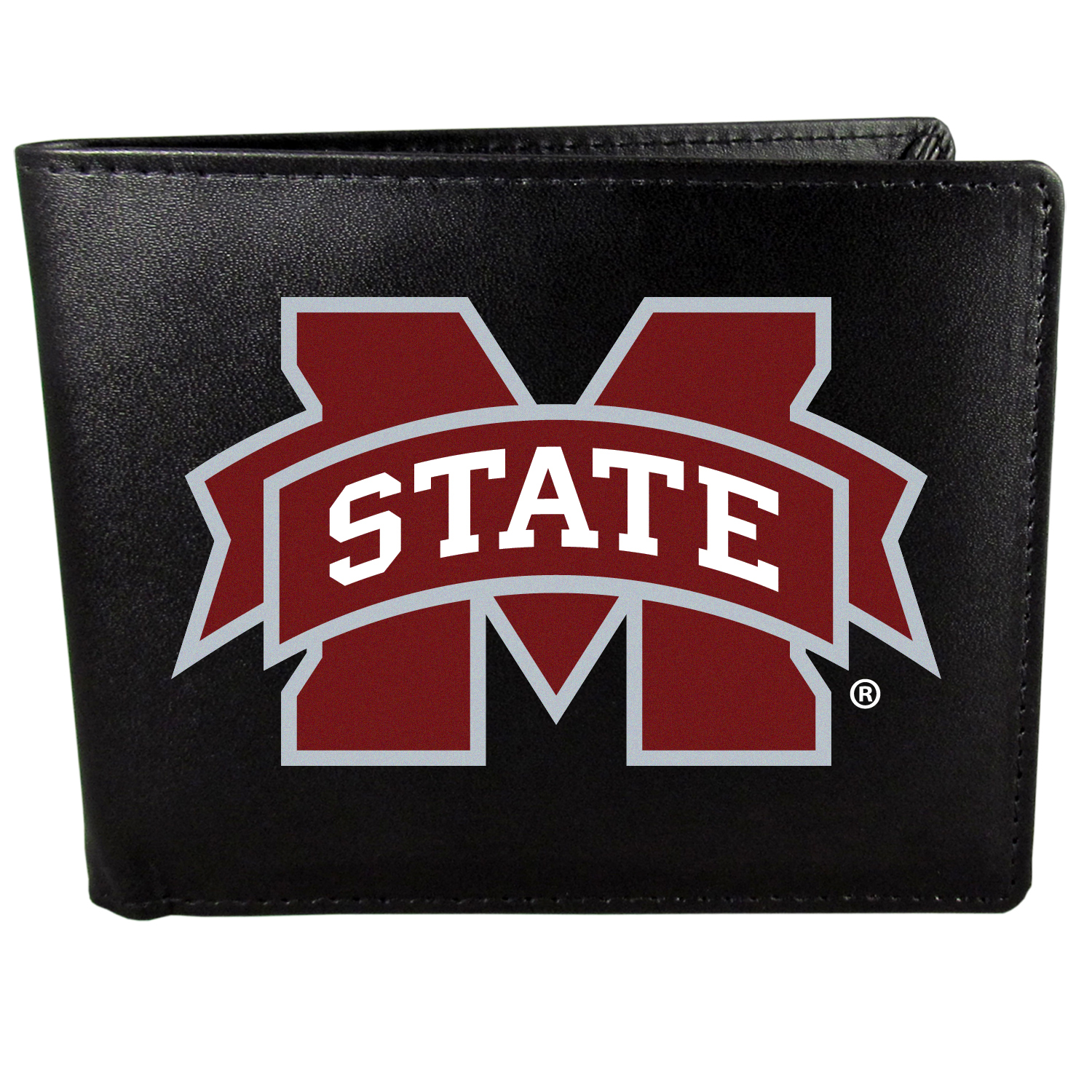 Mississippi St. Bulldogs Bi-fold Wallet Large Logo - Sports fans do not have to sacrifice style with this classic bi-fold wallet that sports the Mississippi St. Bulldogs extra large logo. This men's fashion accessory has a leather grain look and expert craftmanship for a quality wallet at a great price. The wallet features inner credit card slots, windowed ID slot and a large billfold pocket. The front of the wallet features a printed team logo.