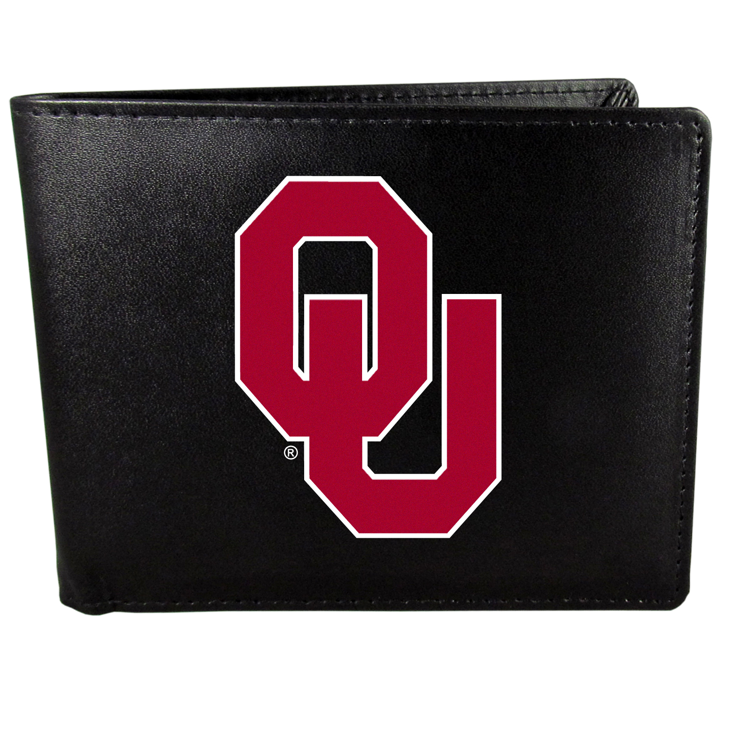 Oklahoma Sooners Bi-fold Wallet Large Logo - Sports fans do not have to sacrifice style with this classic bi-fold wallet that sports the Oklahoma Sooners extra large logo. This men's fashion accessory has a leather grain look and expert craftmanship for a quality wallet at a great price. The wallet features inner credit card slots, windowed ID slot and a large billfold pocket. The front of the wallet features a printed team logo.