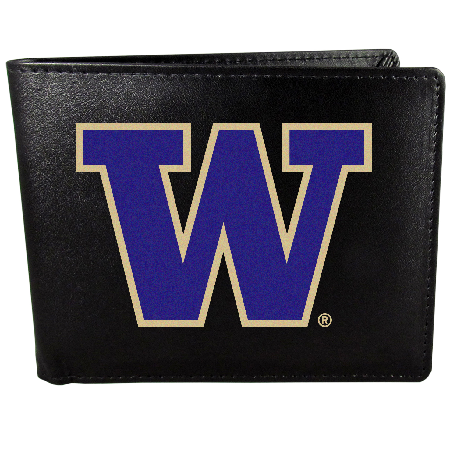 Washington Huskies Bi-fold Wallet Large Logo - Sports fans do not have to sacrifice style with this classic bi-fold wallet that sports the Washington Huskies extra large logo. This men's fashion accessory has a leather grain look and expert craftmanship for a quality wallet at a great price. The wallet features inner credit card slots, windowed ID slot and a large billfold pocket. The front of the wallet features a printed team logo.