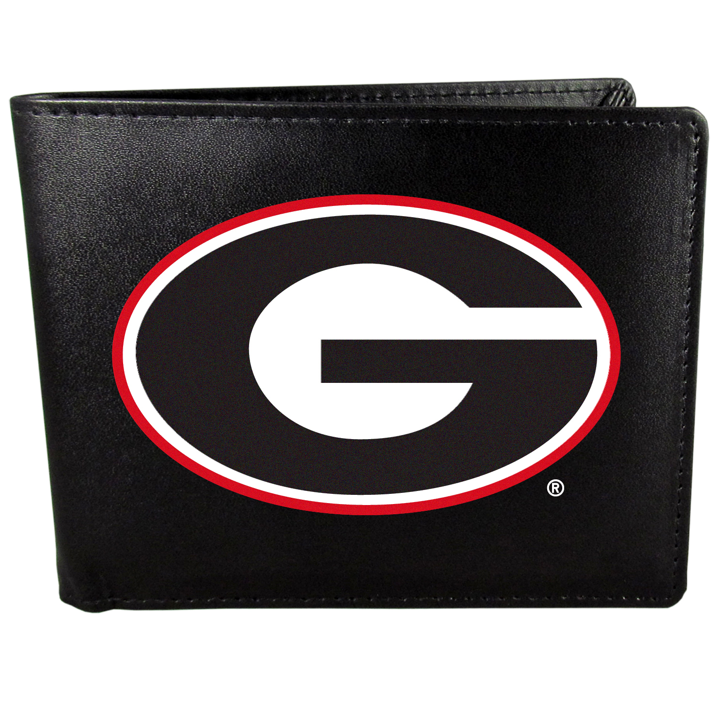 Georgia Bulldogs Bi-fold Wallet Large Logo - Sports fans do not have to sacrifice style with this classic bi-fold wallet that sports the Georgia Bulldogs?extra large logo. This men's fashion accessory has a leather grain look and expert craftmanship for a quality wallet at a great price. The wallet features inner credit card slots, windowed ID slot and a large billfold pocket. The front of the wallet features a printed team logo.