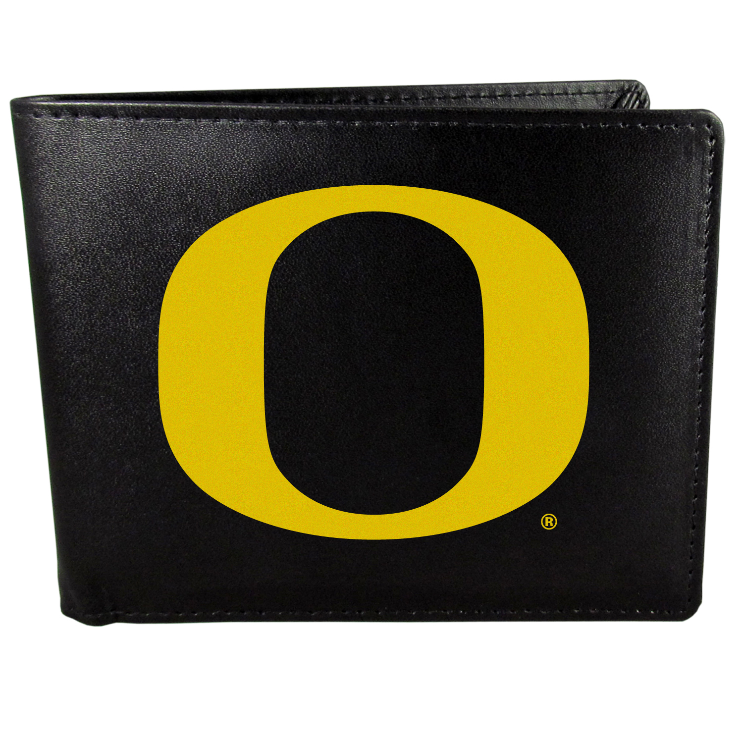 Oregon Ducks Bi-fold Wallet Large Logo - Sports fans do not have to sacrifice style with this classic bi-fold wallet that sports the Oregon Ducks extra large logo. This men's fashion accessory has a leather grain look and expert craftmanship for a quality wallet at a great price. The wallet features inner credit card slots, windowed ID slot and a large billfold pocket. The front of the wallet features a printed team logo.