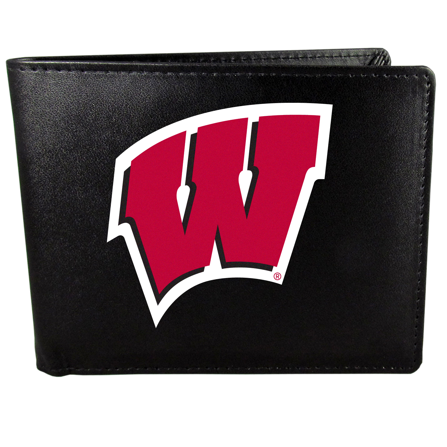 Wisconsin Badgers Bi-fold Wallet Large Logo - Sports fans do not have to sacrifice style with this classic bi-fold wallet that sports the Wisconsin Badgers extra large logo. This men's fashion accessory has a leather grain look and expert craftmanship for a quality wallet at a great price. The wallet features inner credit card slots, windowed ID slot and a large billfold pocket. The front of the wallet features a printed team logo.
