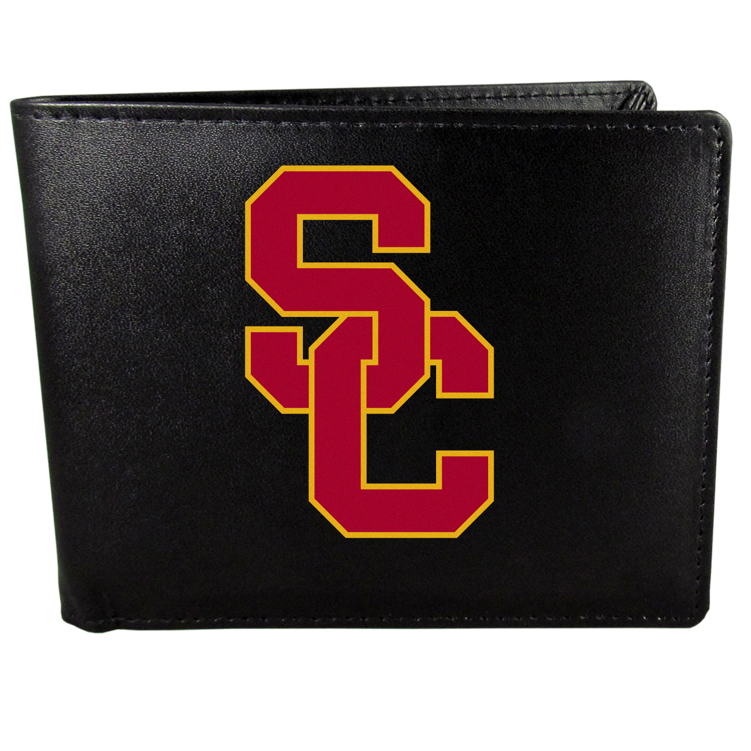 USC Trojans Bi-fold Wallet Large Logo - Sports fans do not have to sacrifice style with this classic bi-fold wallet that sports the USC Trojans extra large logo. This men's fashion accessory has a leather grain look and expert craftmanship for a quality wallet at a great price. The wallet features inner credit card slots, windowed ID slot and a large billfold pocket. The front of the wallet features a printed team logo.