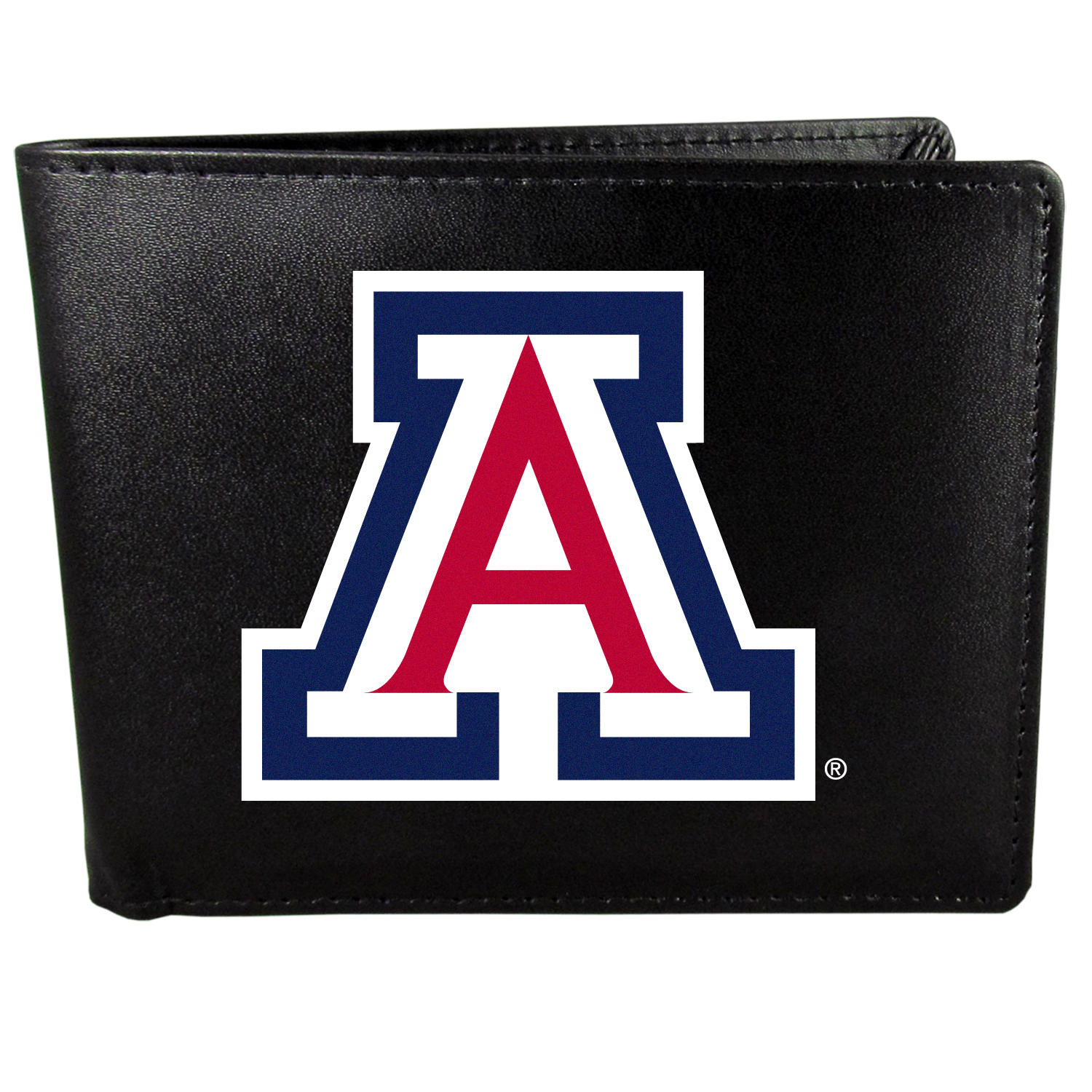 Arizona Wildcats Bi-fold Wallet Large Logo - Sports fans do not have to sacrifice style with this classic bi-fold wallet that sports the Arizona Wildcats?extra large logo. This men's fashion accessory has a leather grain look and expert craftmanship for a quality wallet at a great price. The wallet features inner credit card slots, windowed ID slot and a large billfold pocket. The front of the wallet features a printed team logo.