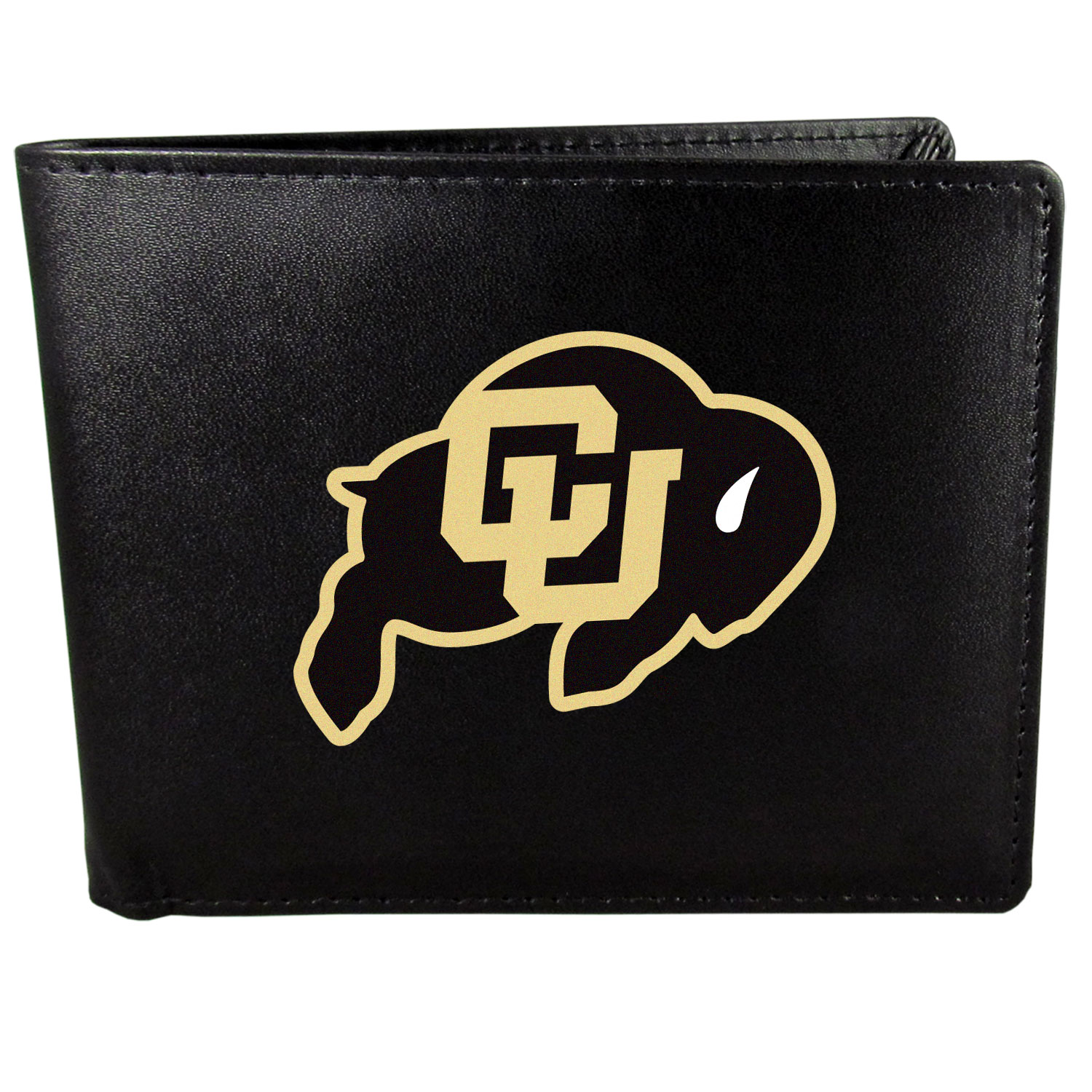 Colorado Buffaloes Bi-fold Wallet Large Logo - Sports fans do not have to sacrifice style with this classic bi-fold wallet that sports the Colorado Buffaloes?extra large logo. This men's fashion accessory has a leather grain look and expert craftmanship for a quality wallet at a great price. The wallet features inner credit card slots, windowed ID slot and a large billfold pocket. The front of the wallet features a printed team logo.
