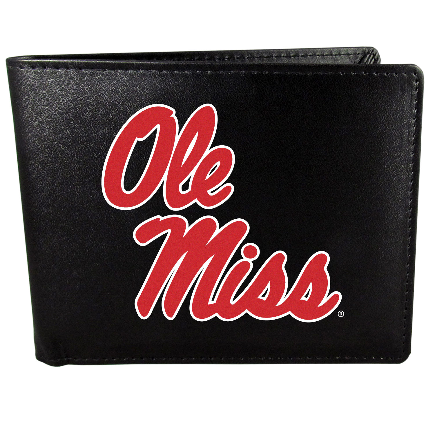 Mississippi Rebels Bi-fold Wallet Large Logo - Sports fans do not have to sacrifice style with this classic bi-fold wallet that sports the Mississippi Rebels extra large logo. This men's fashion accessory has a leather grain look and expert craftmanship for a quality wallet at a great price. The wallet features inner credit card slots, windowed ID slot and a large billfold pocket. The front of the wallet features a printed team logo.