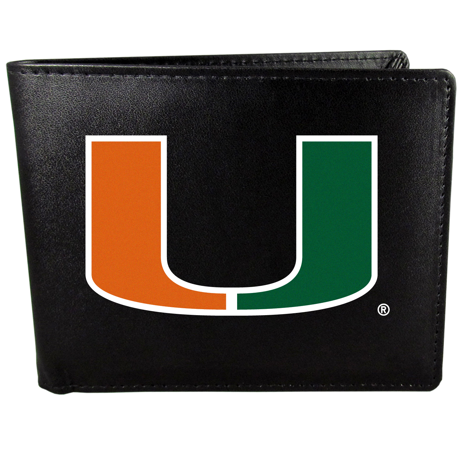 Miami Hurricanes Bi-fold Wallet Large Logo - Sports fans do not have to sacrifice style with this classic bi-fold wallet that sports the Miami Hurricanes extra large logo. This men's fashion accessory has a leather grain look and expert craftmanship for a quality wallet at a great price. The wallet features inner credit card slots, windowed ID slot and a large billfold pocket. The front of the wallet features a printed team logo.