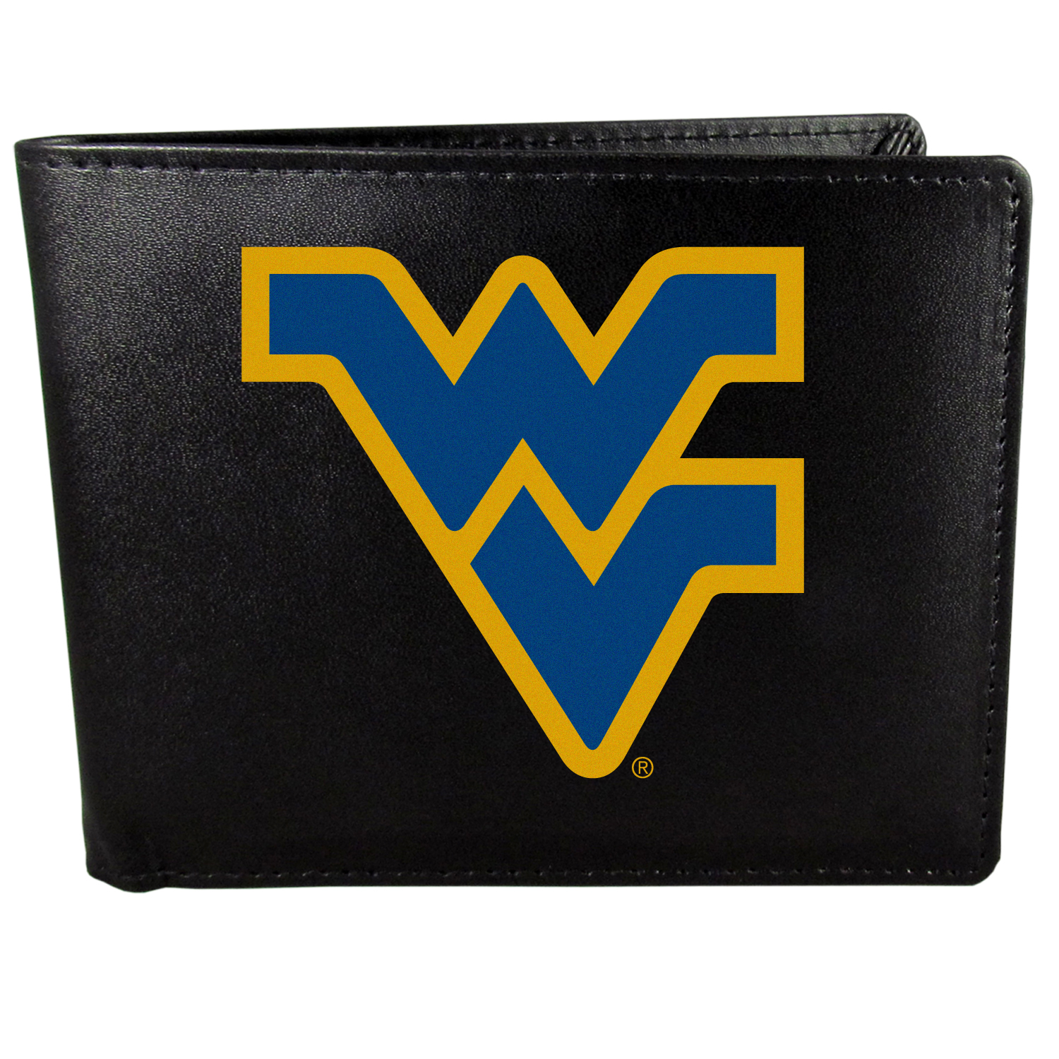W. Virginia Mountaineers Bi-fold Wallet Large Logo - Sports fans do not have to sacrifice style with this classic bi-fold wallet that sports the W. Virginia Mountaineers extra large logo. This men's fashion accessory has a leather grain look and expert craftmanship for a quality wallet at a great price. The wallet features inner credit card slots, windowed ID slot and a large billfold pocket. The front of the wallet features a printed team logo.