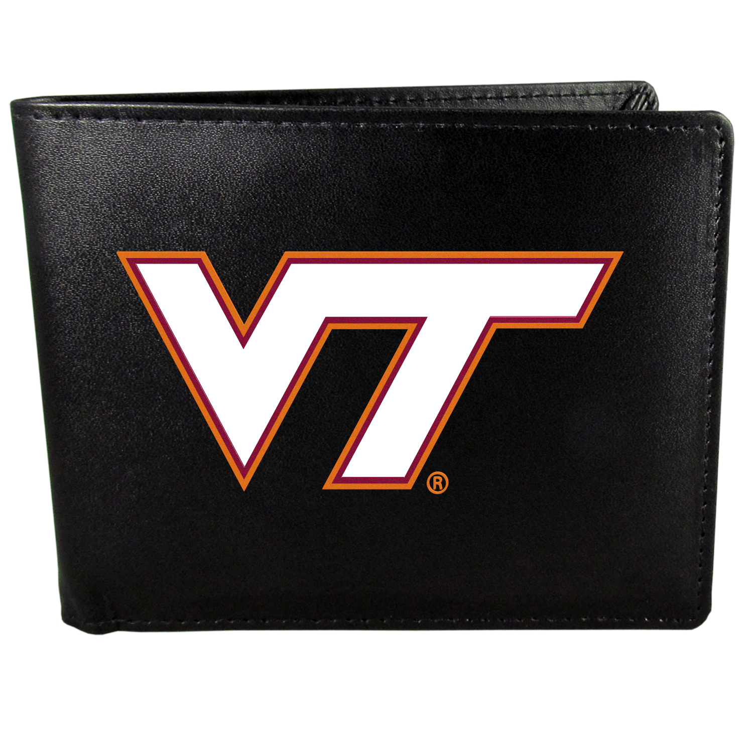 Virginia Tech Hokies Bi-fold Wallet Large Logo - Sports fans do not have to sacrifice style with this classic bi-fold wallet that sports the Virginia Tech Hokies?extra large logo. This men's fashion accessory has a leather grain look and expert craftmanship for a quality wallet at a great price. The wallet features inner credit card slots, windowed ID slot and a large billfold pocket. The front of the wallet features a printed team logo.