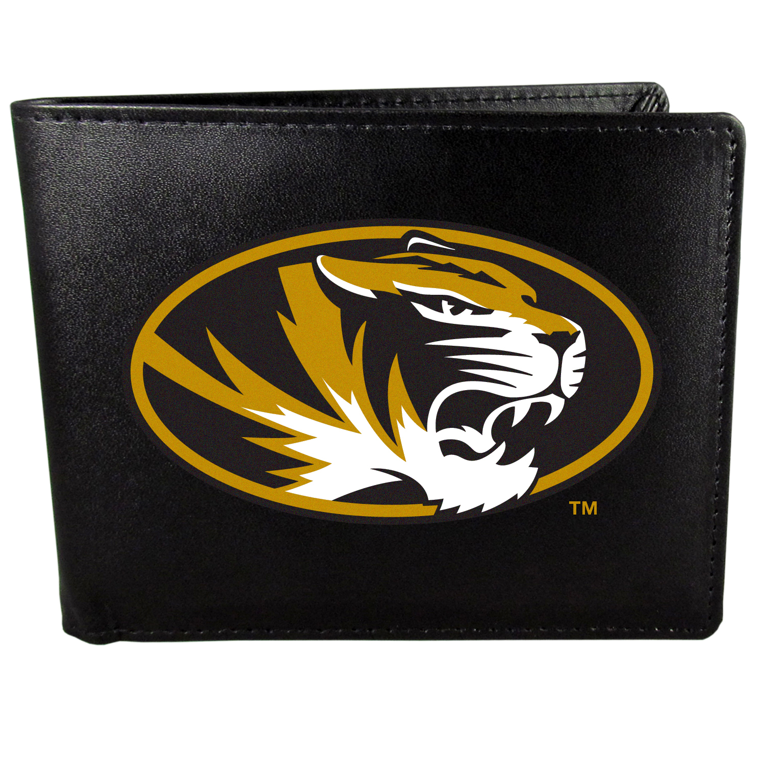 Missouri Tigers Bi-fold Wallet Large Logo - Sports fans do not have to sacrifice style with this classic bi-fold wallet that sports the Missouri Tigers extra large logo. This men's fashion accessory has a leather grain look and expert craftmanship for a quality wallet at a great price. The wallet features inner credit card slots, windowed ID slot and a large billfold pocket. The front of the wallet features a printed team logo.