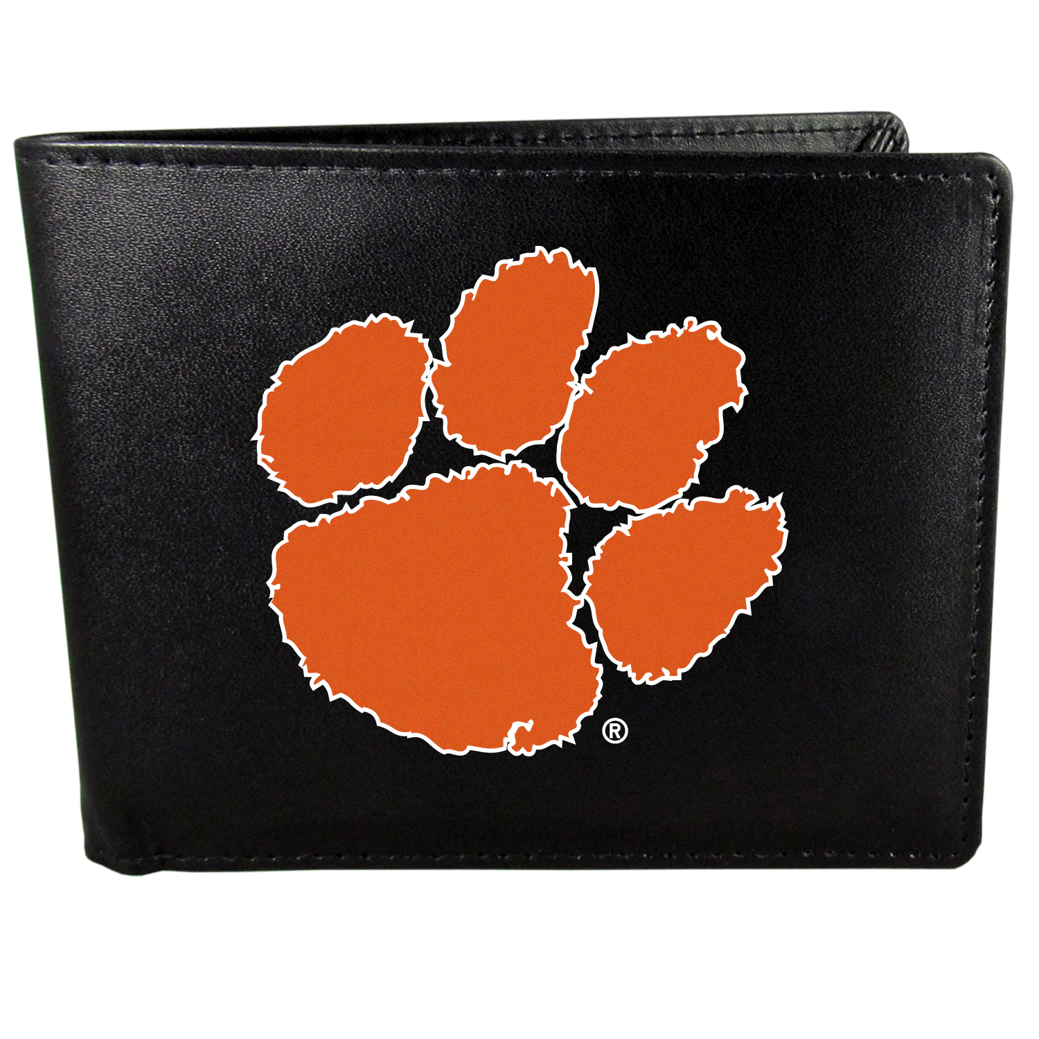 Clemson Tigers Bi-fold Wallet Large Logo - Sports fans do not have to sacrifice style with this classic bi-fold wallet that sports the Clemson Tigers?extra large logo. This men's fashion accessory has a leather grain look and expert craftmanship for a quality wallet at a great price. The wallet features inner credit card slots, windowed ID slot and a large billfold pocket. The front of the wallet features a printed team logo.