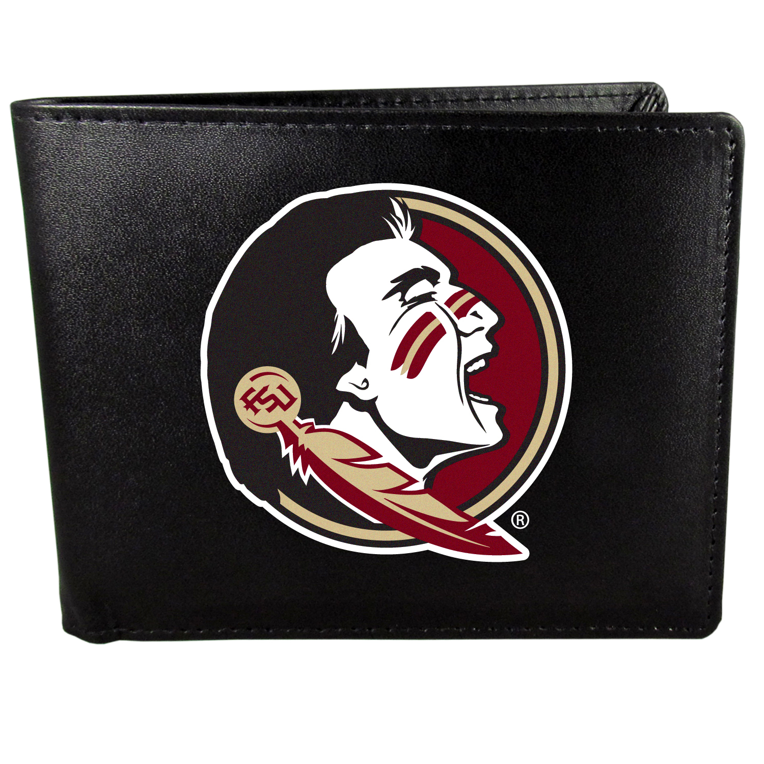 Florida St. Seminoles Bi-fold Wallet Large Logo - Sports fans do not have to sacrifice style with this classic bi-fold wallet that sports the Florida St. Seminoles?extra large logo. This men's fashion accessory has a leather grain look and expert craftmanship for a quality wallet at a great price. The wallet features inner credit card slots, windowed ID slot and a large billfold pocket. The front of the wallet features a printed team logo.