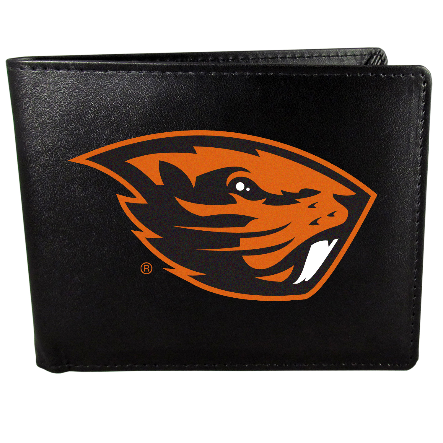 Oregon St. Beavers Bi-fold Wallet Large Logo - Sports fans do not have to sacrifice style with this classic bi-fold wallet that sports the Oregon St. Beavers extra large logo. This men's fashion accessory has a leather grain look and expert craftmanship for a quality wallet at a great price. The wallet features inner credit card slots, windowed ID slot and a large billfold pocket. The front of the wallet features a printed team logo.