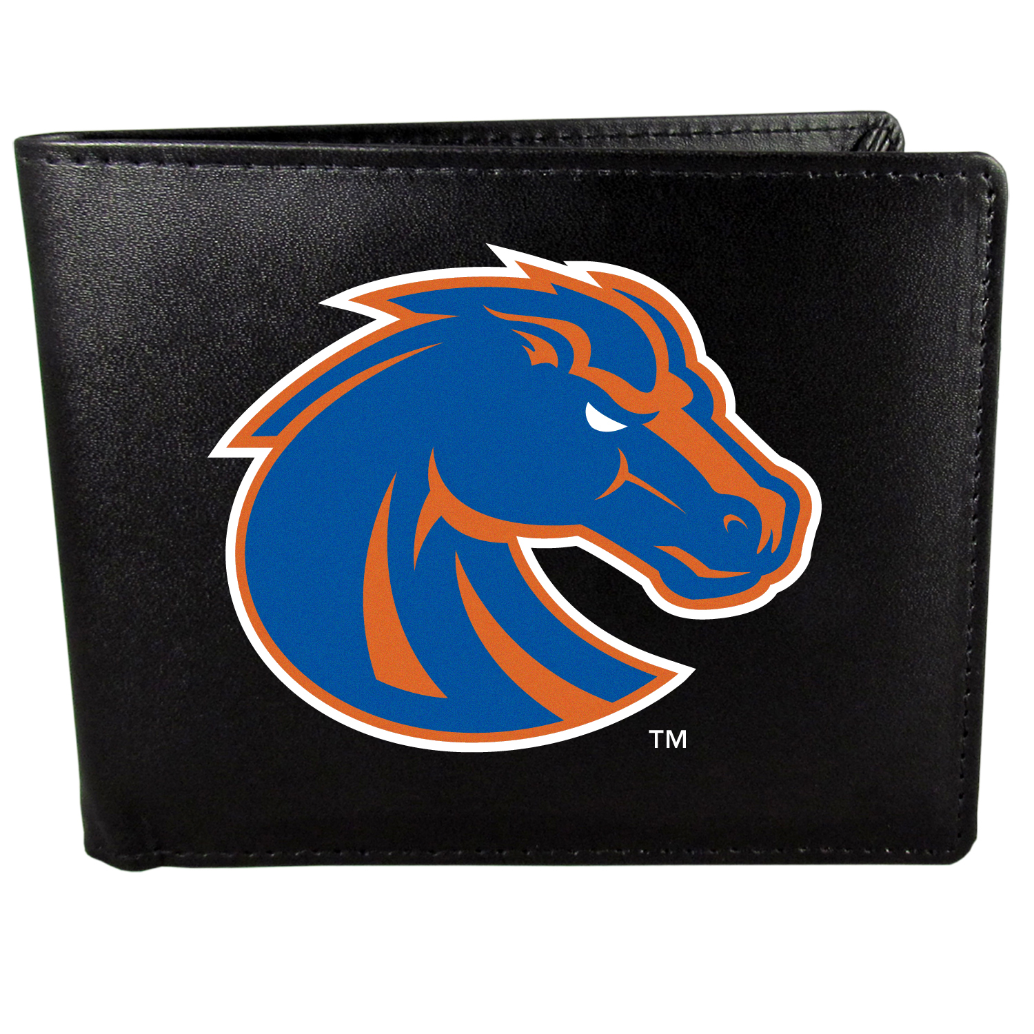Boise St. Broncos Bi-fold Wallet Large Logo - Sports fans do not have to sacrifice style with this classic bi-fold wallet that sports the Boise St. Broncos?extra large logo. This men's fashion accessory has a leather grain look and expert craftmanship for a quality wallet at a great price. The wallet features inner credit card slots, windowed ID slot and a large billfold pocket. The front of the wallet features a printed team logo.