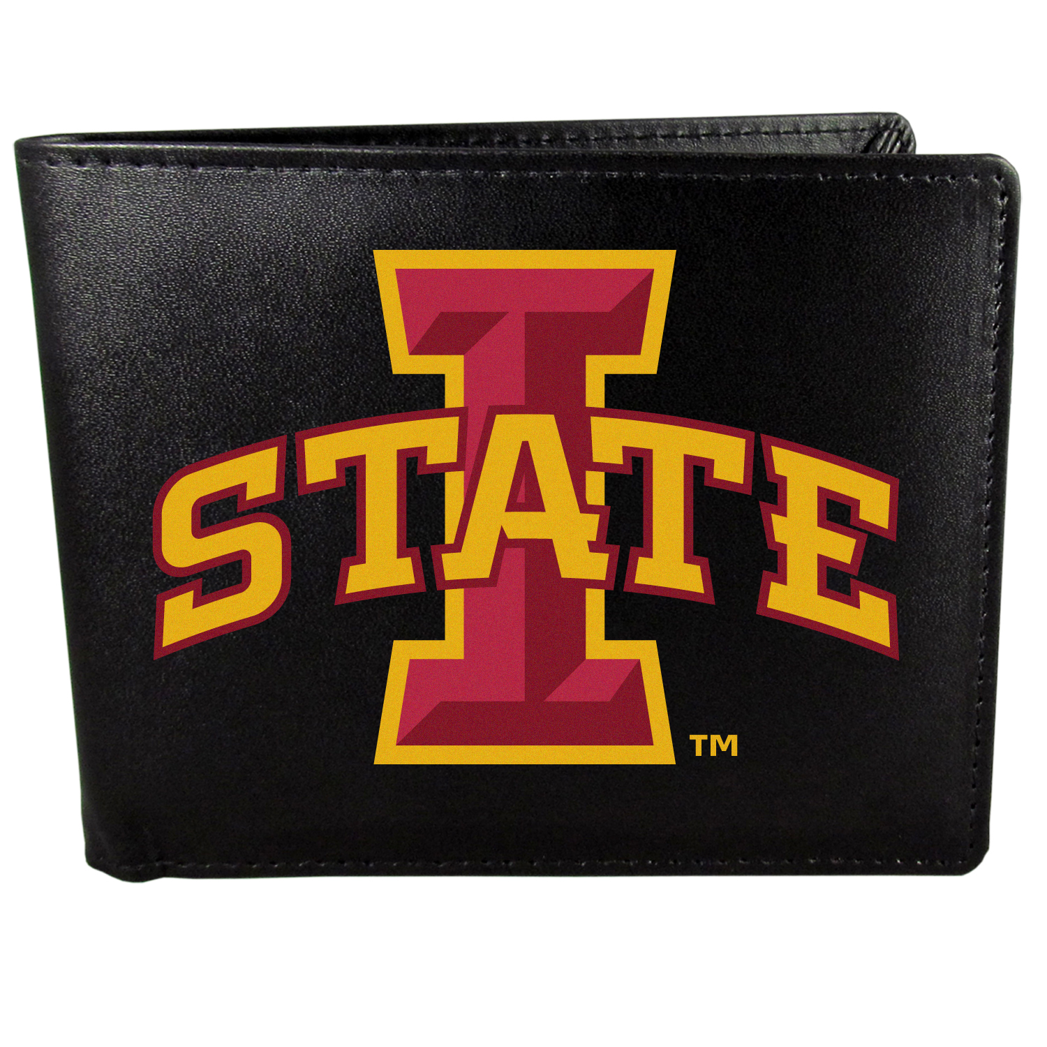 Iowa St. Cyclones Bi-fold Wallet Large Logo - Sports fans do not have to sacrifice style with this classic bi-fold wallet that sports the Iowa St. Cyclones?extra large logo. This men's fashion accessory has a leather grain look and expert craftmanship for a quality wallet at a great price. The wallet features inner credit card slots, windowed ID slot and a large billfold pocket. The front of the wallet features a printed team logo.