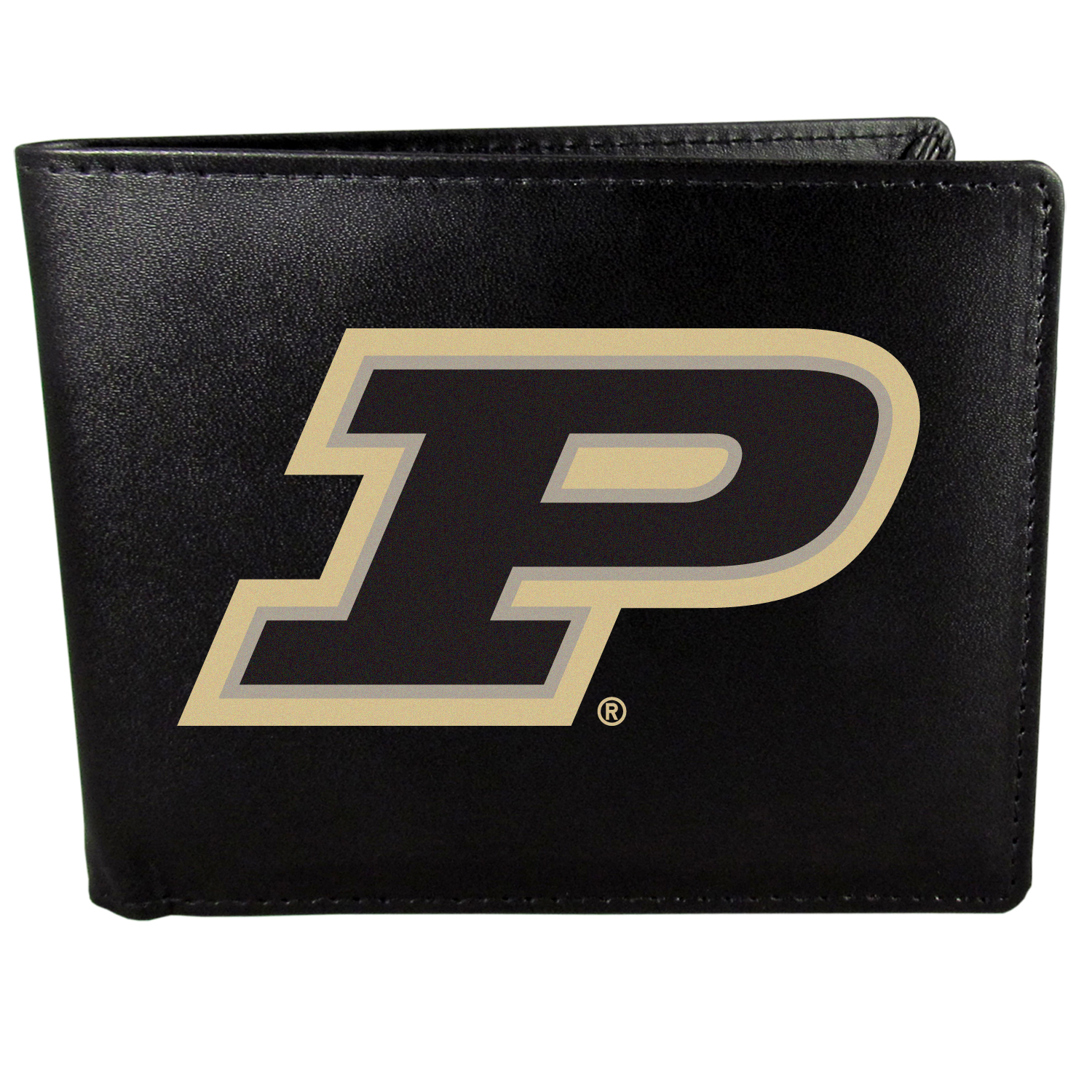 Purdue Boilermakers Bi-fold Wallet Large Logo - Sports fans do not have to sacrifice style with this classic bi-fold wallet that sports the Purdue Boilermakers extra large logo. This men's fashion accessory has a leather grain look and expert craftmanship for a quality wallet at a great price. The wallet features inner credit card slots, windowed ID slot and a large billfold pocket. The front of the wallet features a printed team logo.