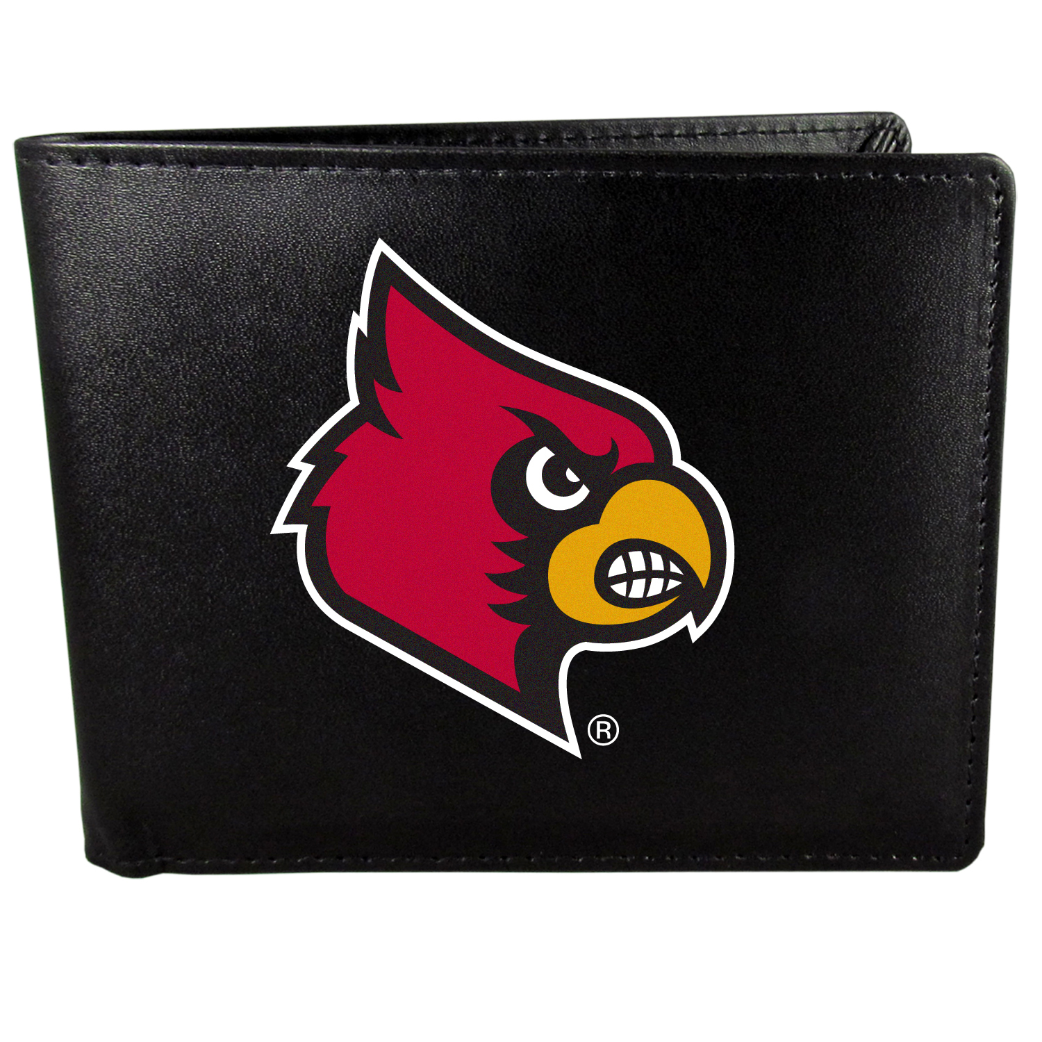 Louisville Cardinals Bi-fold Wallet Large Logo - Sports fans do not have to sacrifice style with this classic bi-fold wallet that sports the Louisville Cardinals extra large logo. This men's fashion accessory has a leather grain look and expert craftmanship for a quality wallet at a great price. The wallet features inner credit card slots, windowed ID slot and a large billfold pocket. The front of the wallet features a printed team logo.