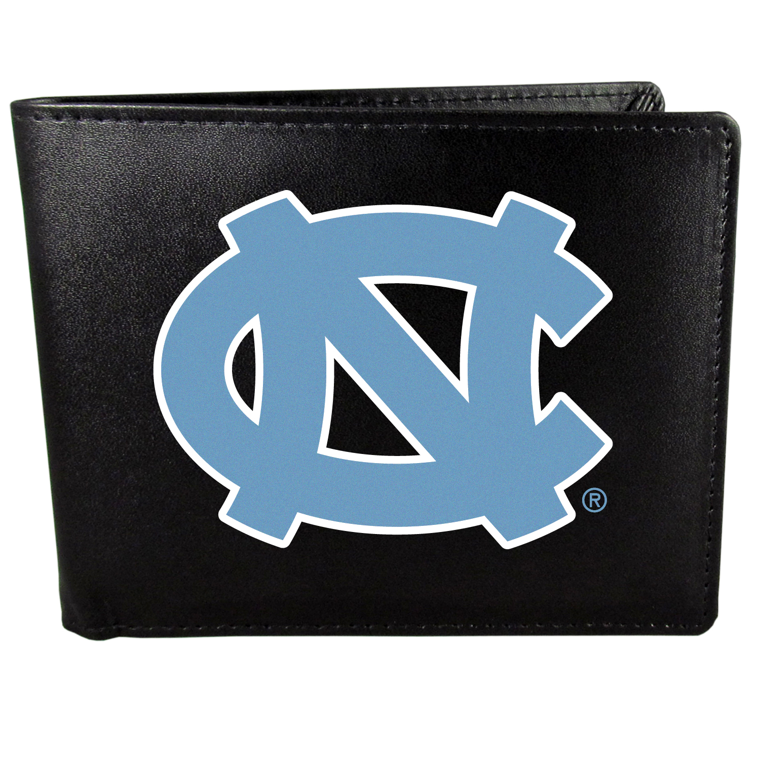 N. Carolina Tar Heels Bi-fold Wallet Large Logo - Sports fans do not have to sacrifice style with this classic bi-fold wallet that sports the N. Carolina Tar Heels extra large logo. This men's fashion accessory has a leather grain look and expert craftmanship for a quality wallet at a great price. The wallet features inner credit card slots, windowed ID slot and a large billfold pocket. The front of the wallet features a printed team logo.