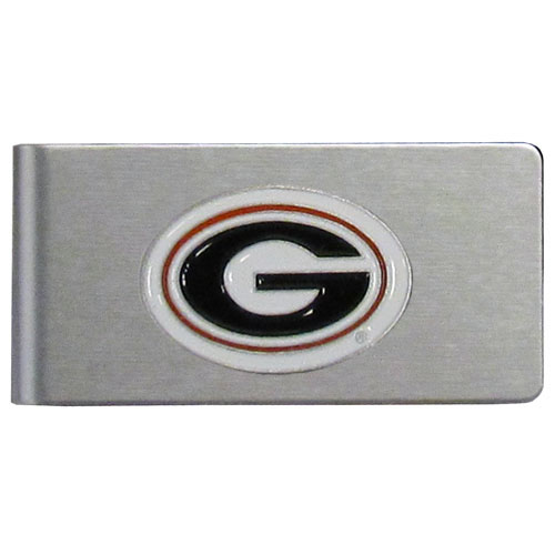 Georgia Bulldogs Brushed Metal Money Clip - Our brushed metal money clip has classic style and functionality. The attractive clip features a metal Georgia Bulldogs emblem with expertly enameled detail