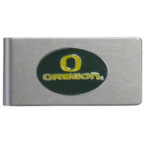 Oregon Ducks Brushed Metal Money Clip - Our brushed metal money clip has classic style and functionality. The attractive clip features a metal Oregon Ducks emblem with expertly enameled detail