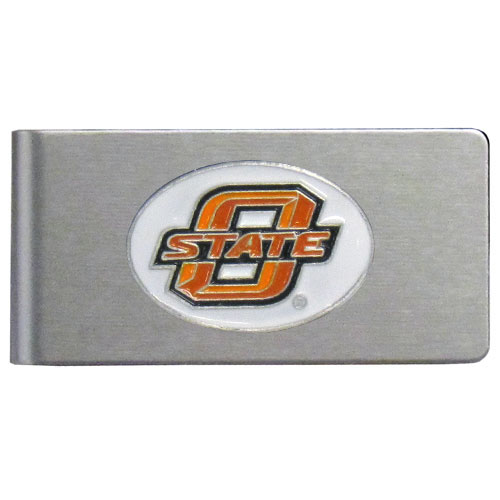 Oklahoma State Cowboys Brushed Metal Money Clip - Our brushed metal money clip has classic style and functionality. The attractive clip features a metal Oklahoma State Cowboys emblem with expertly enameled detail