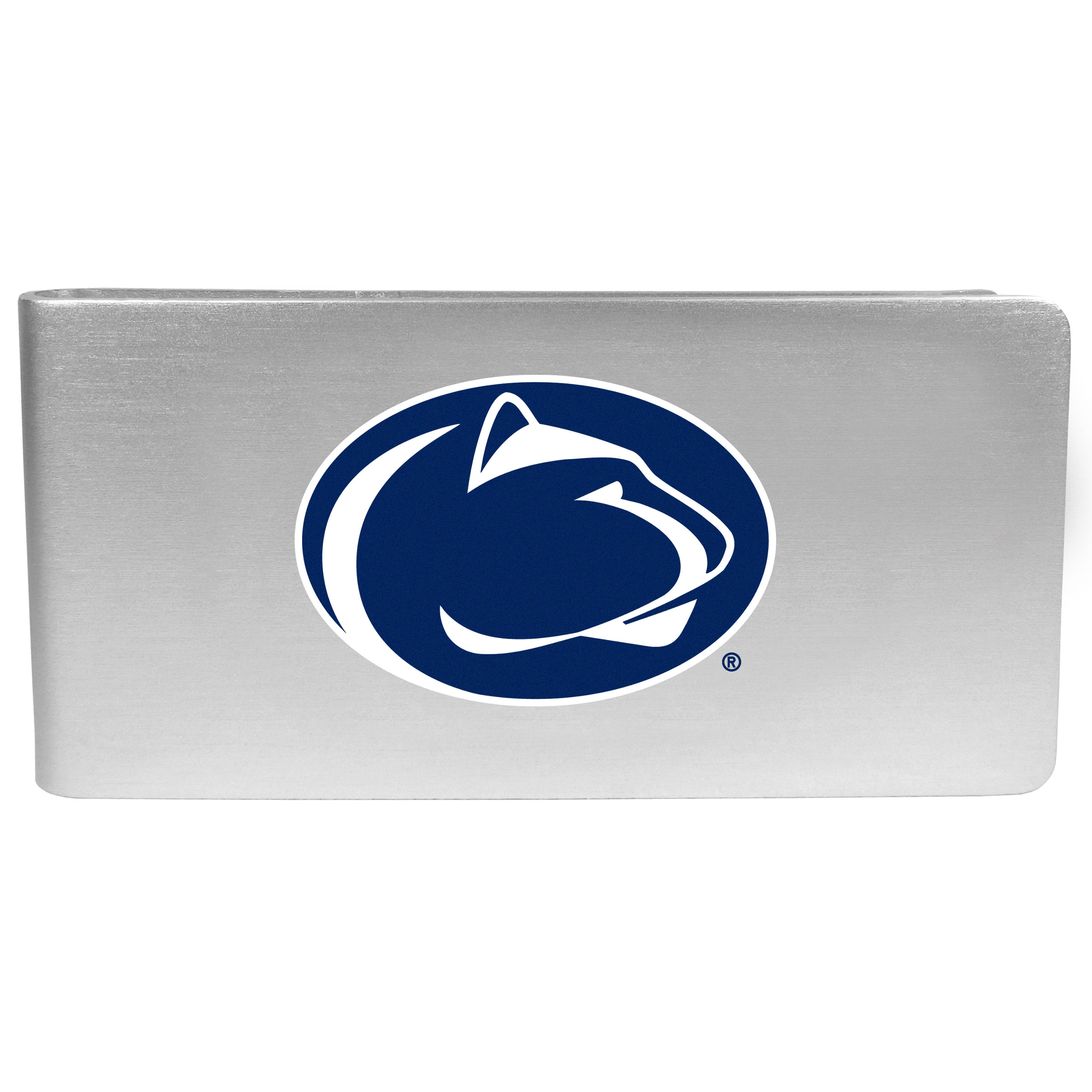 Penn St. Nittany Lions Logo Money Clip - Our brushed metal money clip has classic style and functionality. The attractive clip features the Penn St. Nittany Lions logo expertly printed on front.
