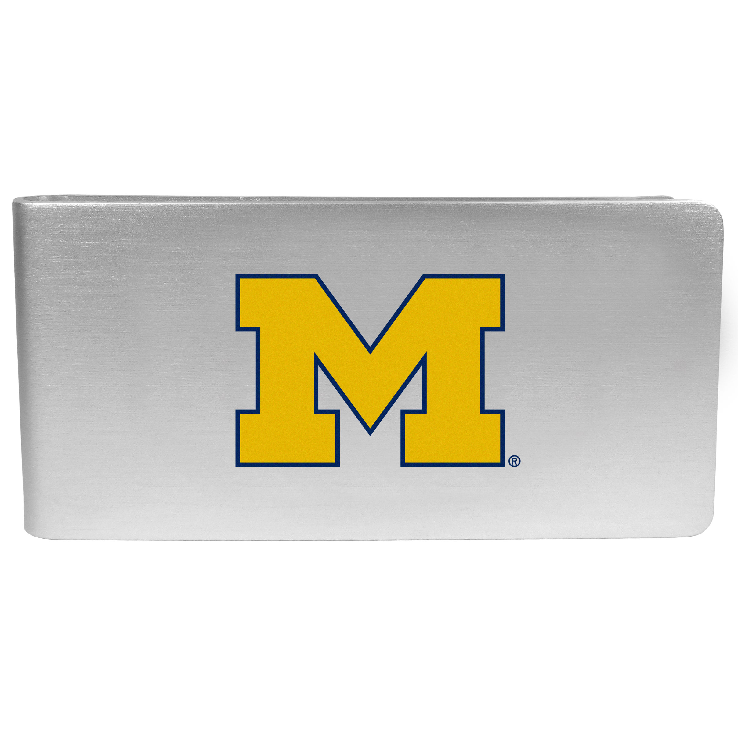 Michigan Wolverines Logo Money Clip - Our brushed metal money clip has classic style and functionality. The attractive clip features the Michigan Wolverines logo expertly printed on front.