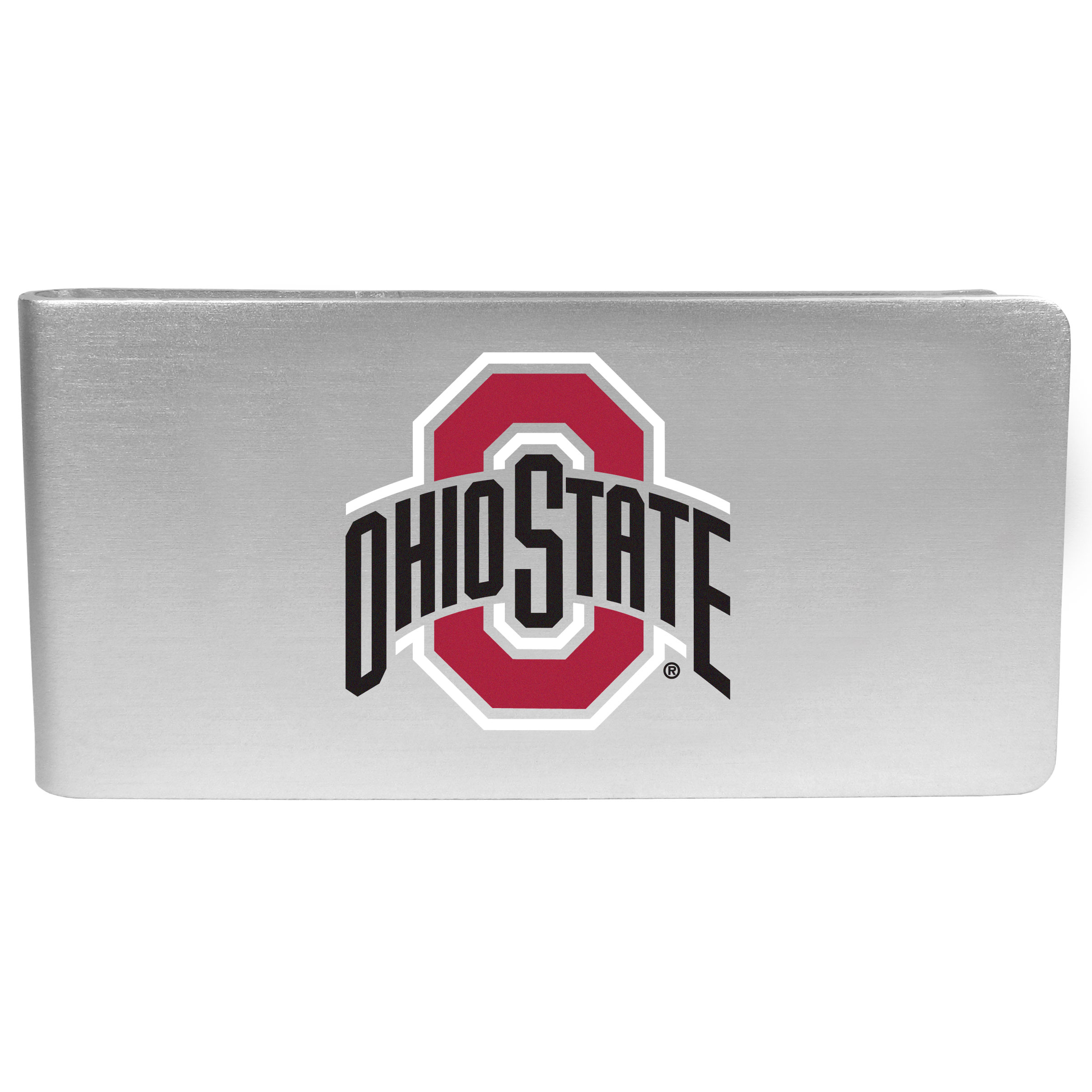 Ohio St. Buckeyes Logo Money Clip - Our brushed metal money clip has classic style and functionality. The attractive clip features the Ohio St. Buckeyes logo expertly printed on front.