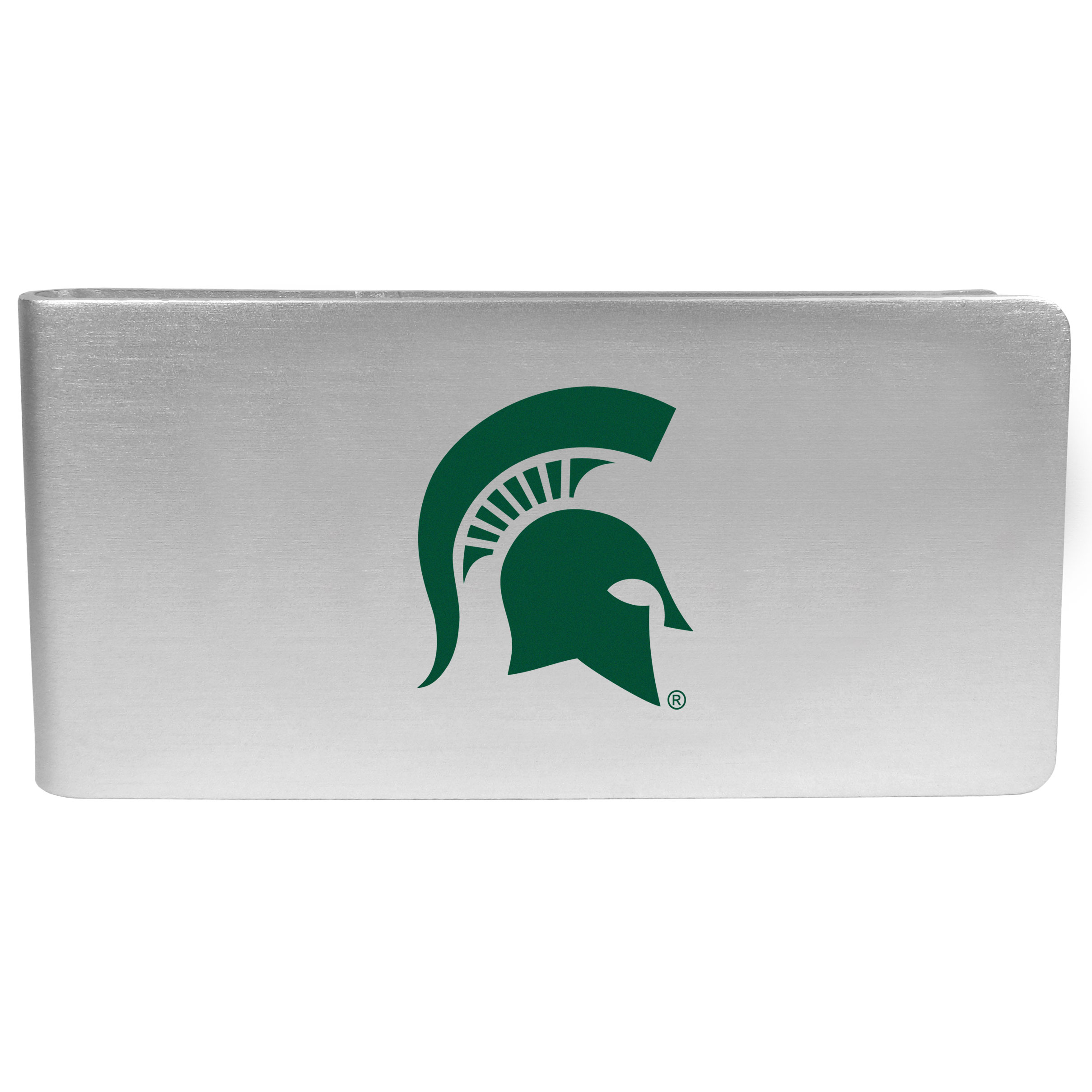 Michigan St. Spartans Logo Money Clip - Our brushed metal money clip has classic style and functionality. The attractive clip features the Michigan St. Spartans logo expertly printed on front.