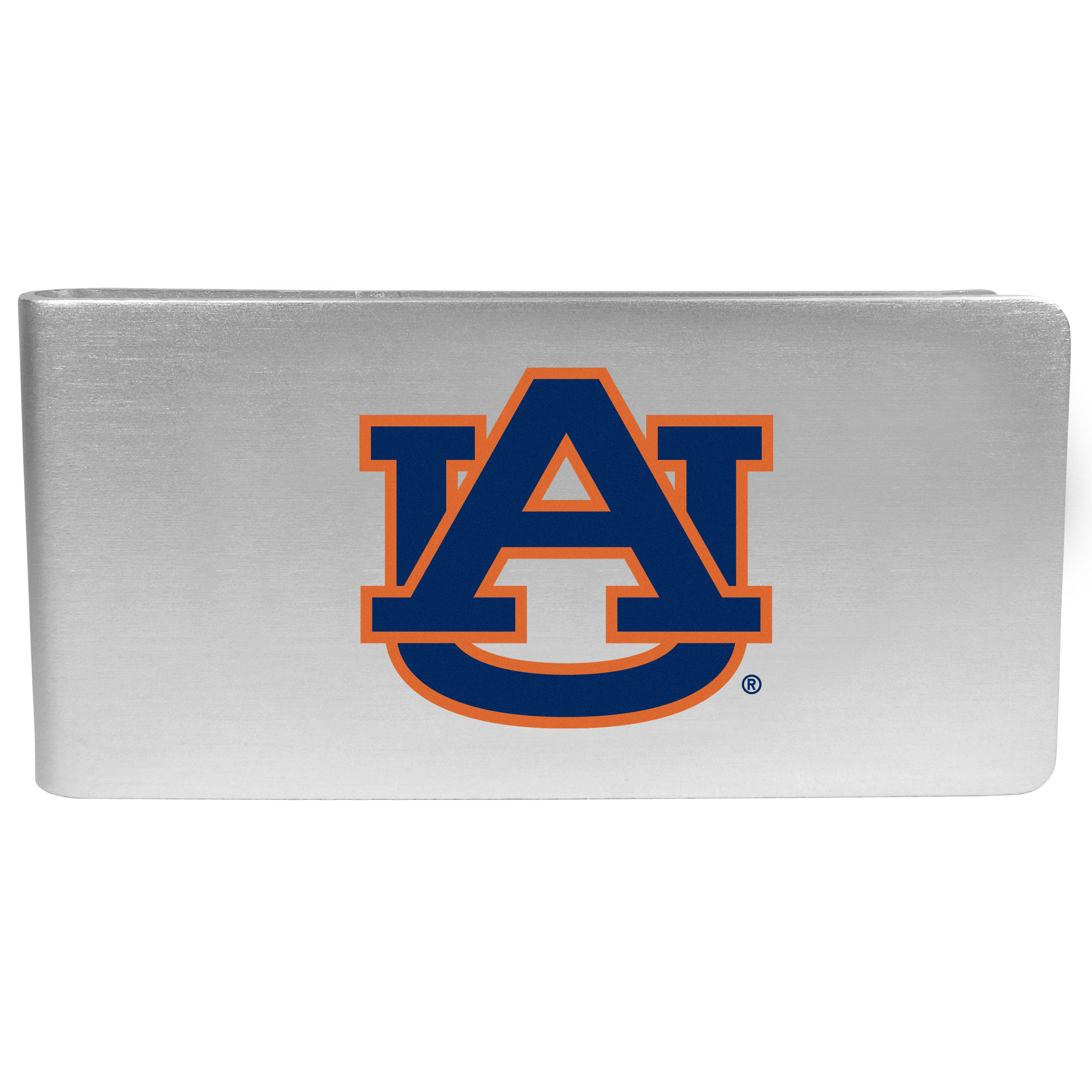 Auburn Tigers Logo Money Clip - Our brushed metal money clip has classic style and functionality. The attractive clip features the Auburn Tigers logo expertly printed on front.